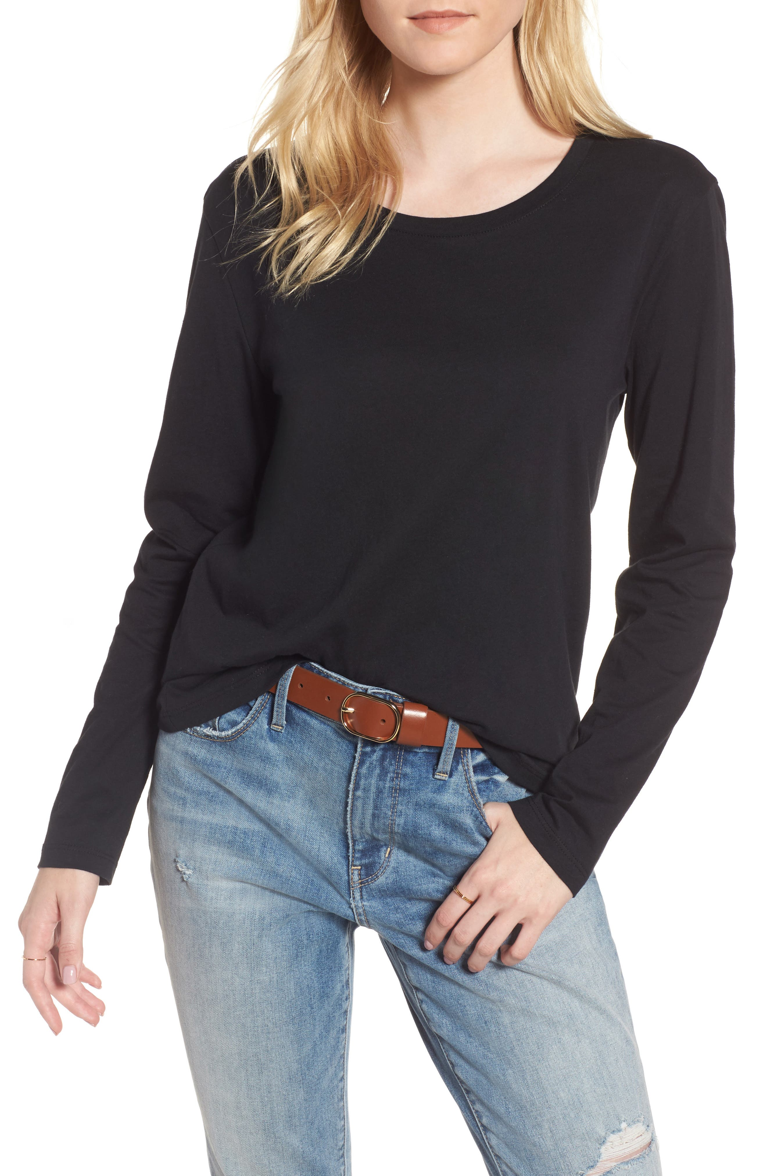 Cotton Tee,                         Main,                         color, Black