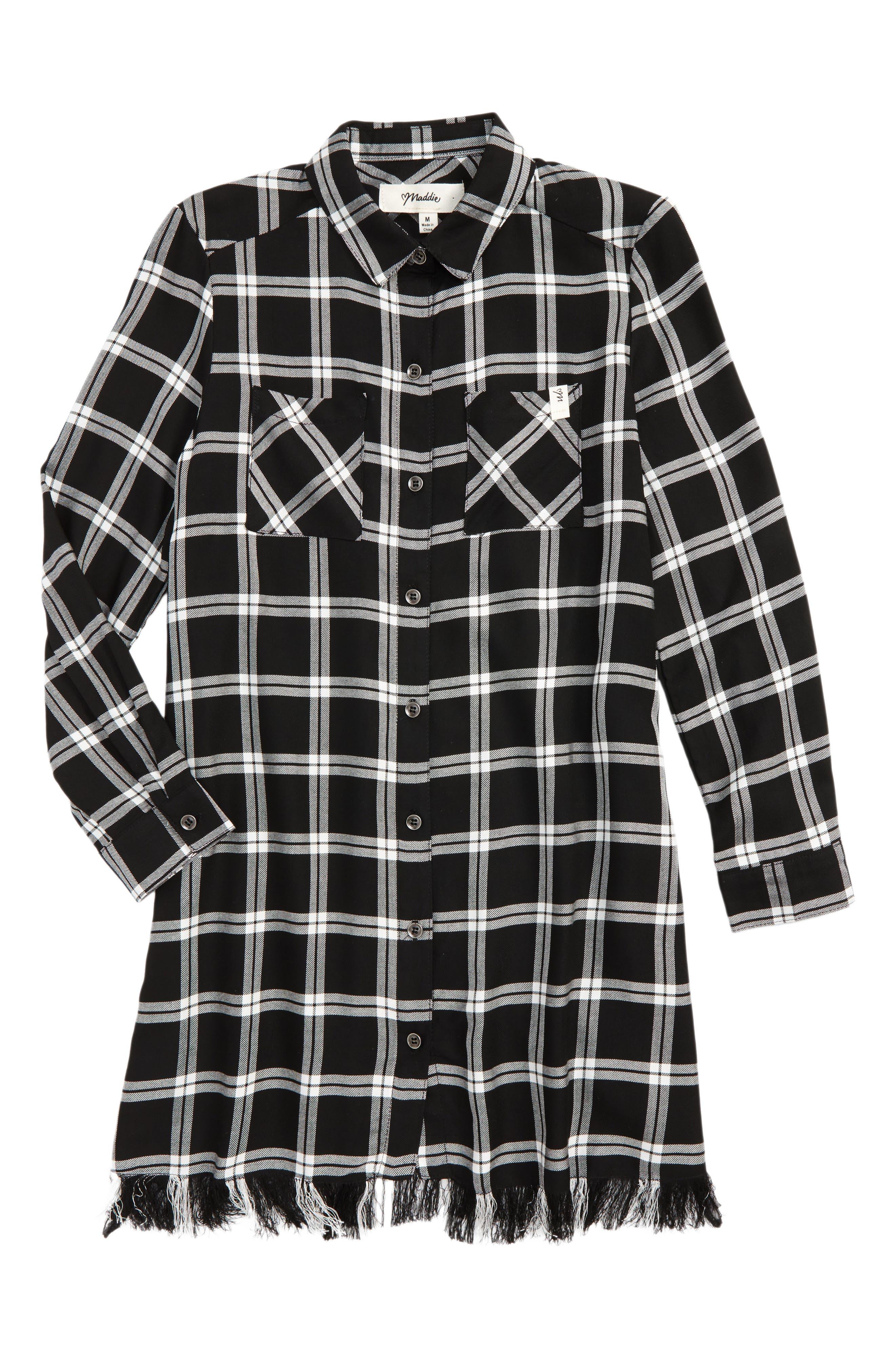 Maddie Fringed Plaid Tunic (Big Girls)