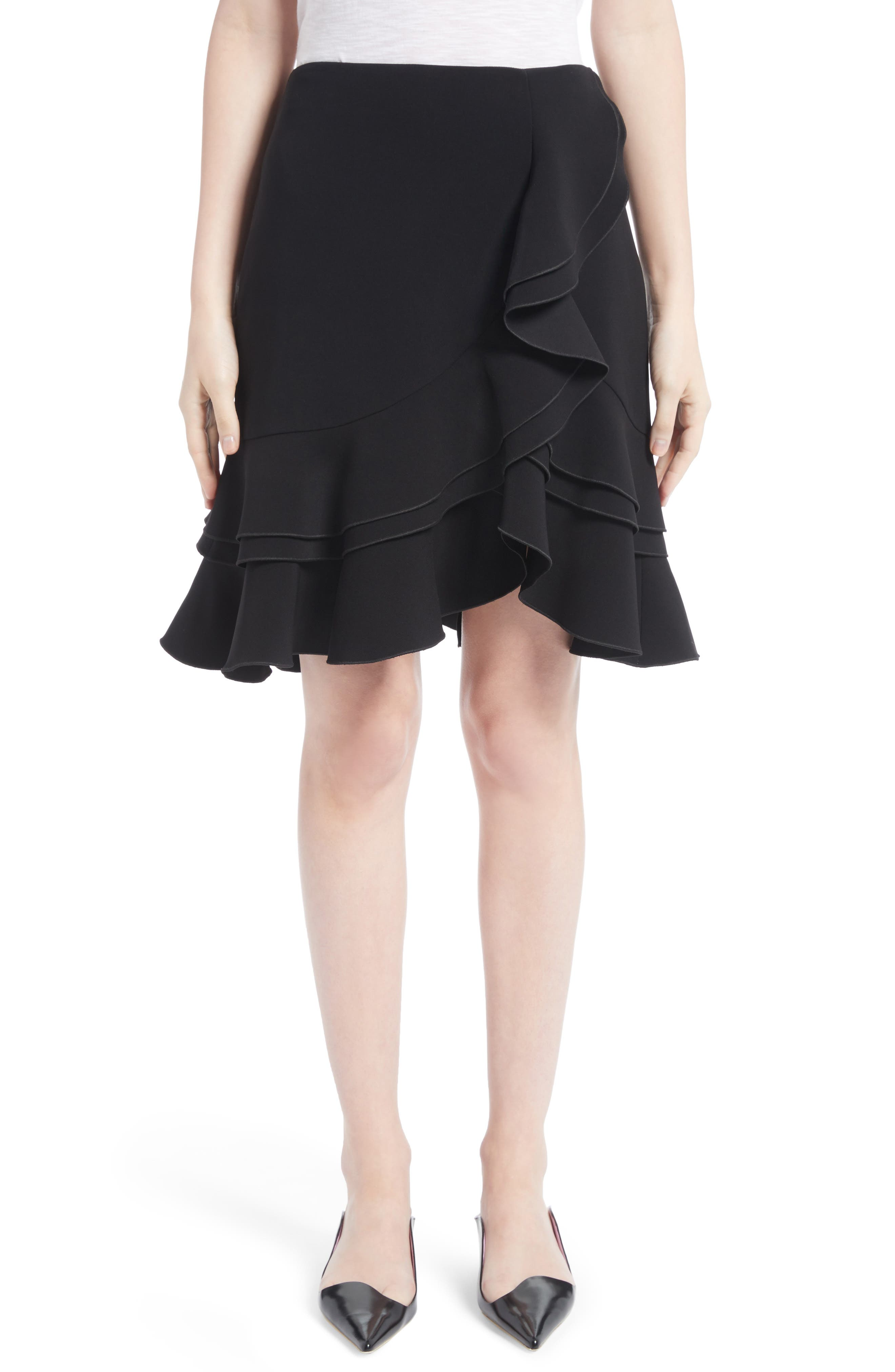 Ruffle Stretch Cady Skirt,                             Main thumbnail 1, color,                             Black