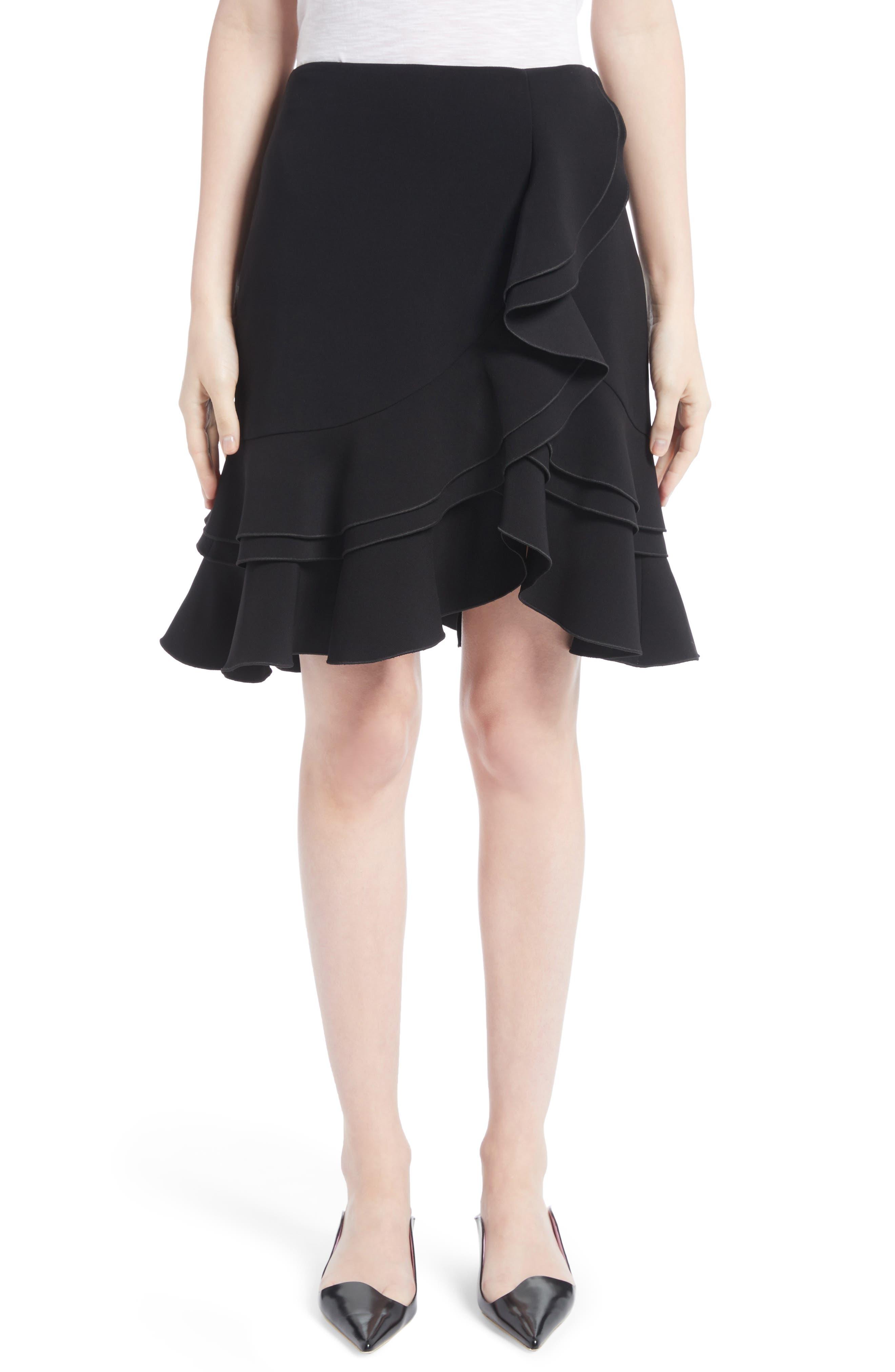 Ruffle Stretch Cady Skirt,                         Main,                         color, Black