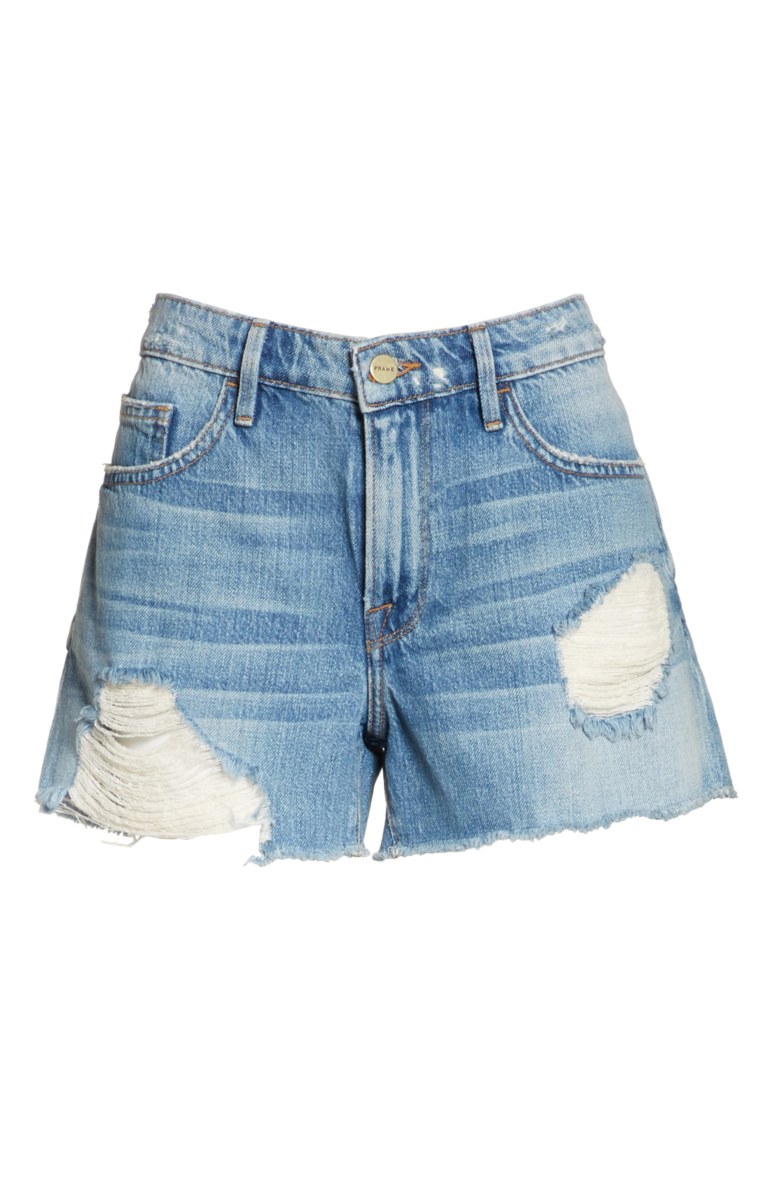 Le Grand Garçon Cutoff Denim Shorts,                             Alternate thumbnail 6, color,                             Albion