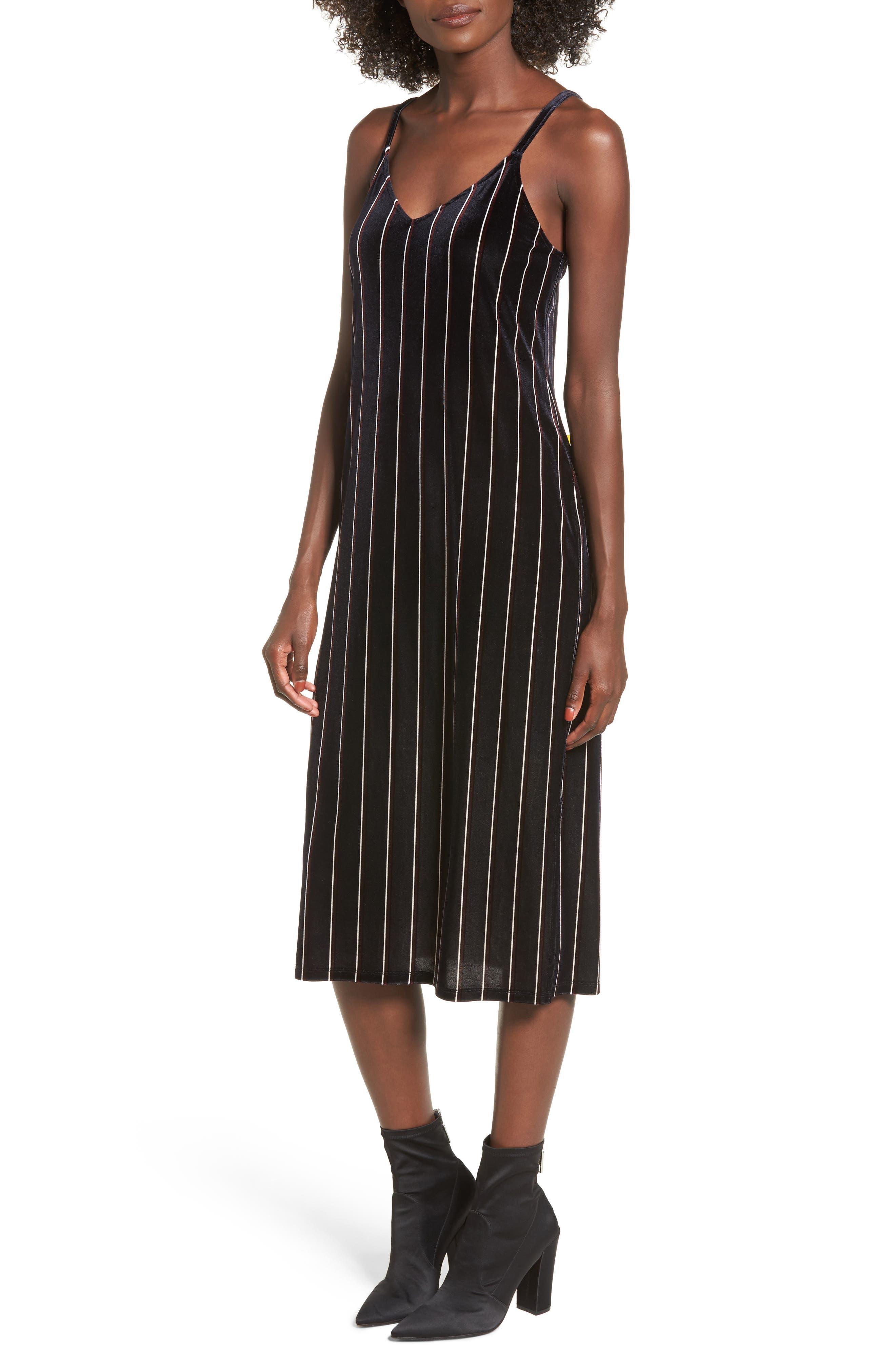 Stripe Velour Slipdress,                         Main,                         color, Navy Blazer Color Stripe
