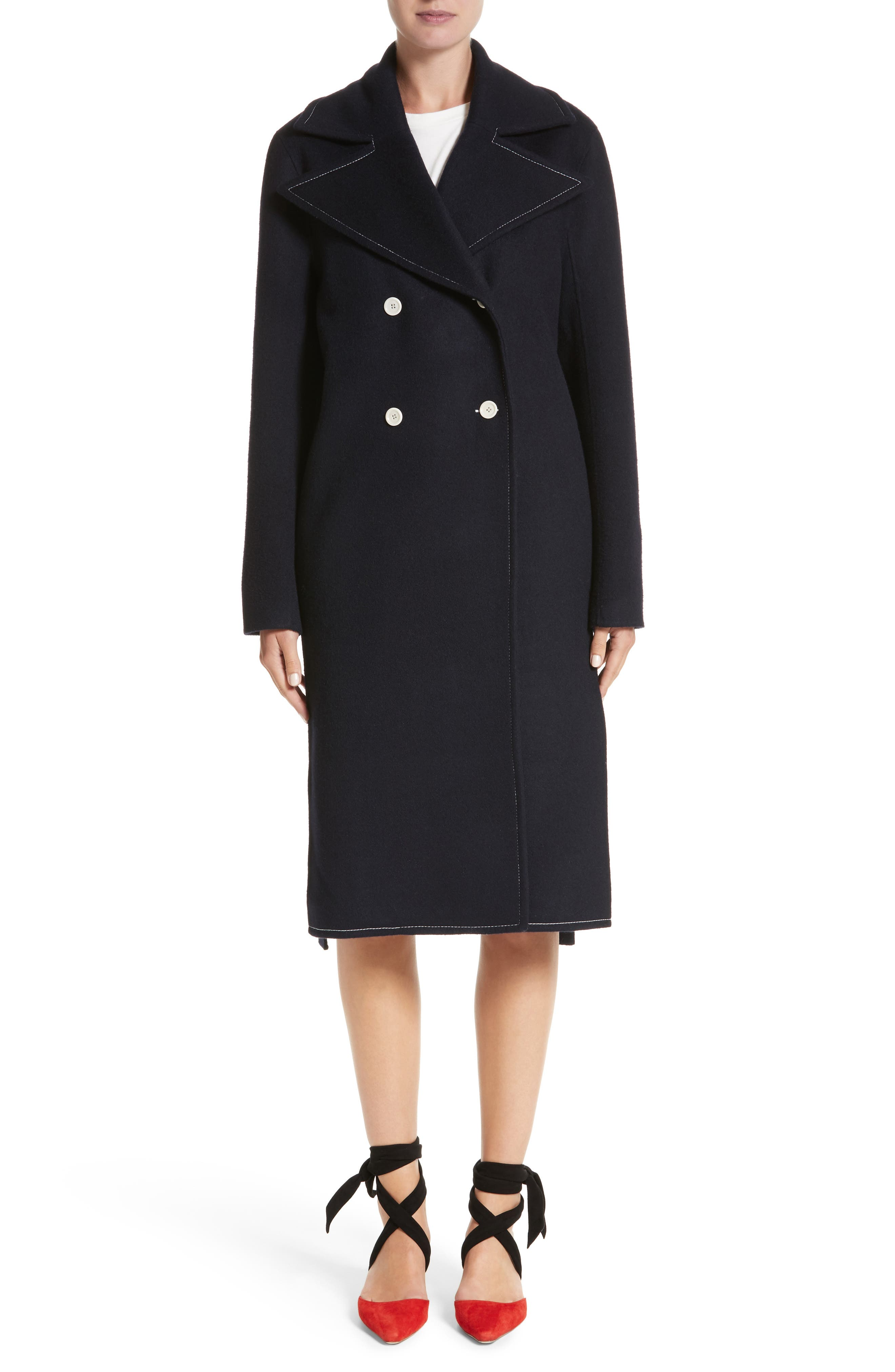 Double Breasted Wool Blend Coat,                             Main thumbnail 1, color,                             Wool Navy