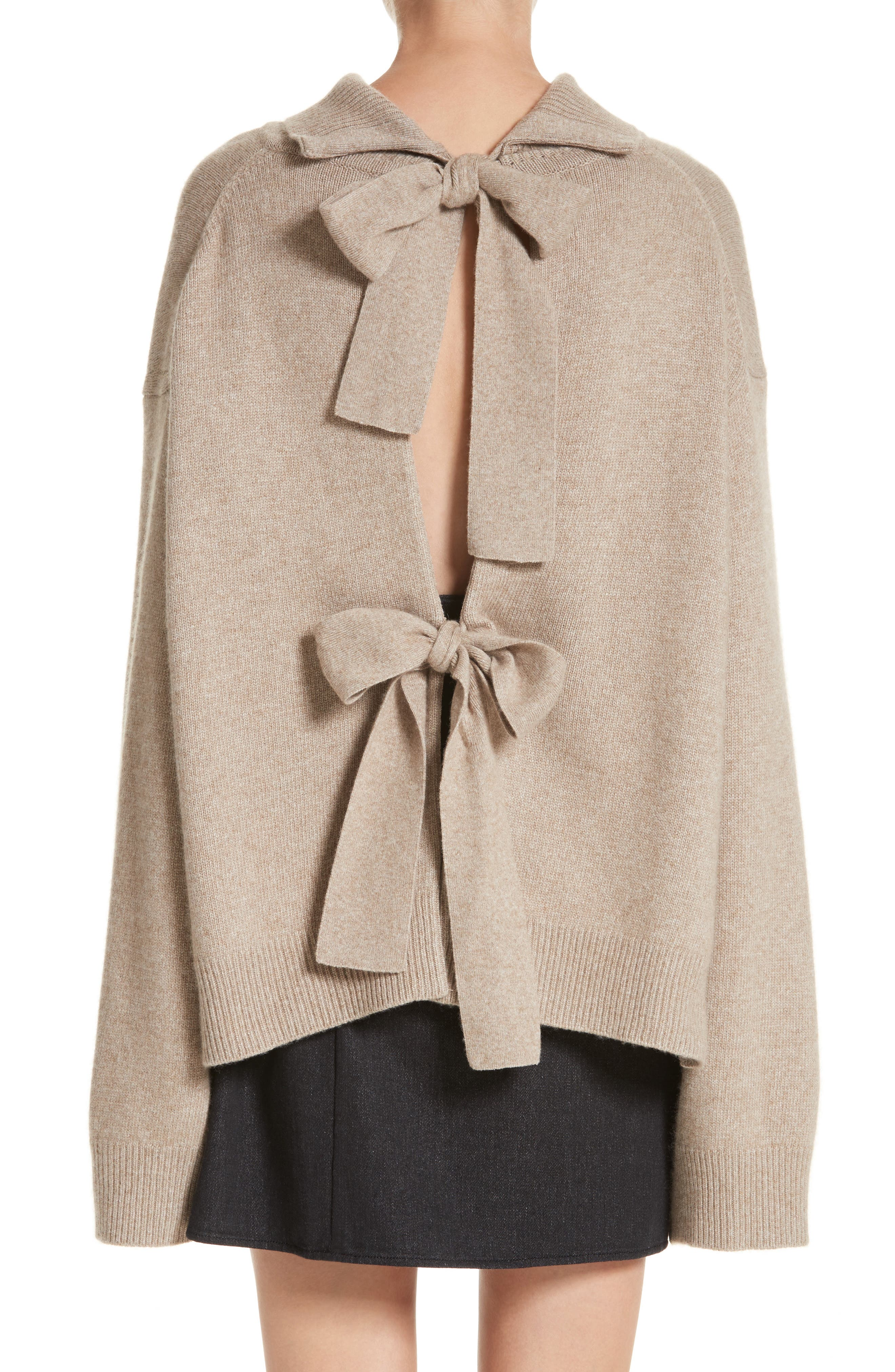 Oversized Tie Back Sweater,                             Alternate thumbnail 2, color,                             Knit Beige