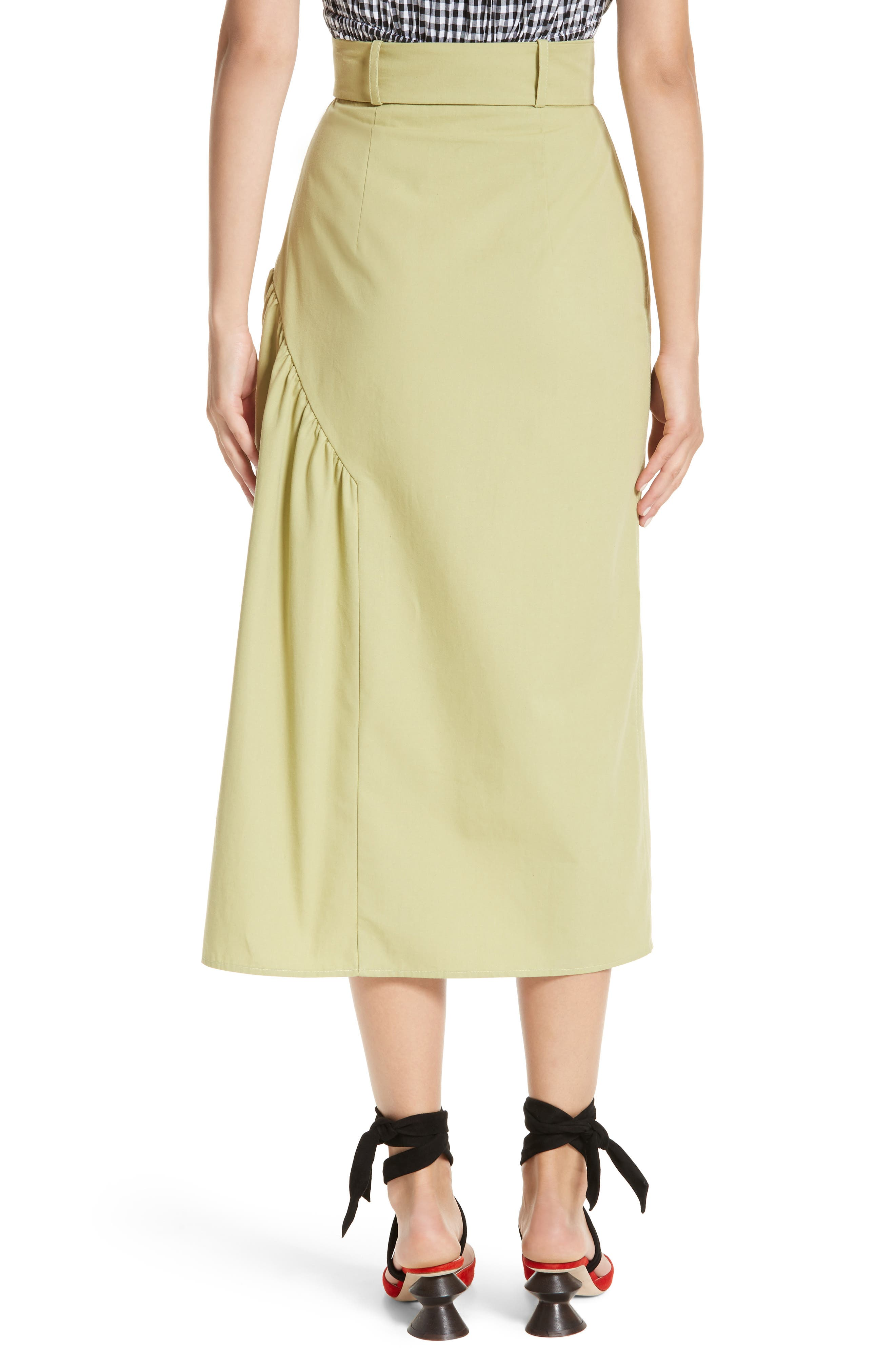 Belted High Waist Ruffle Skirt,                             Alternate thumbnail 2, color,                             Cotton Sage Green