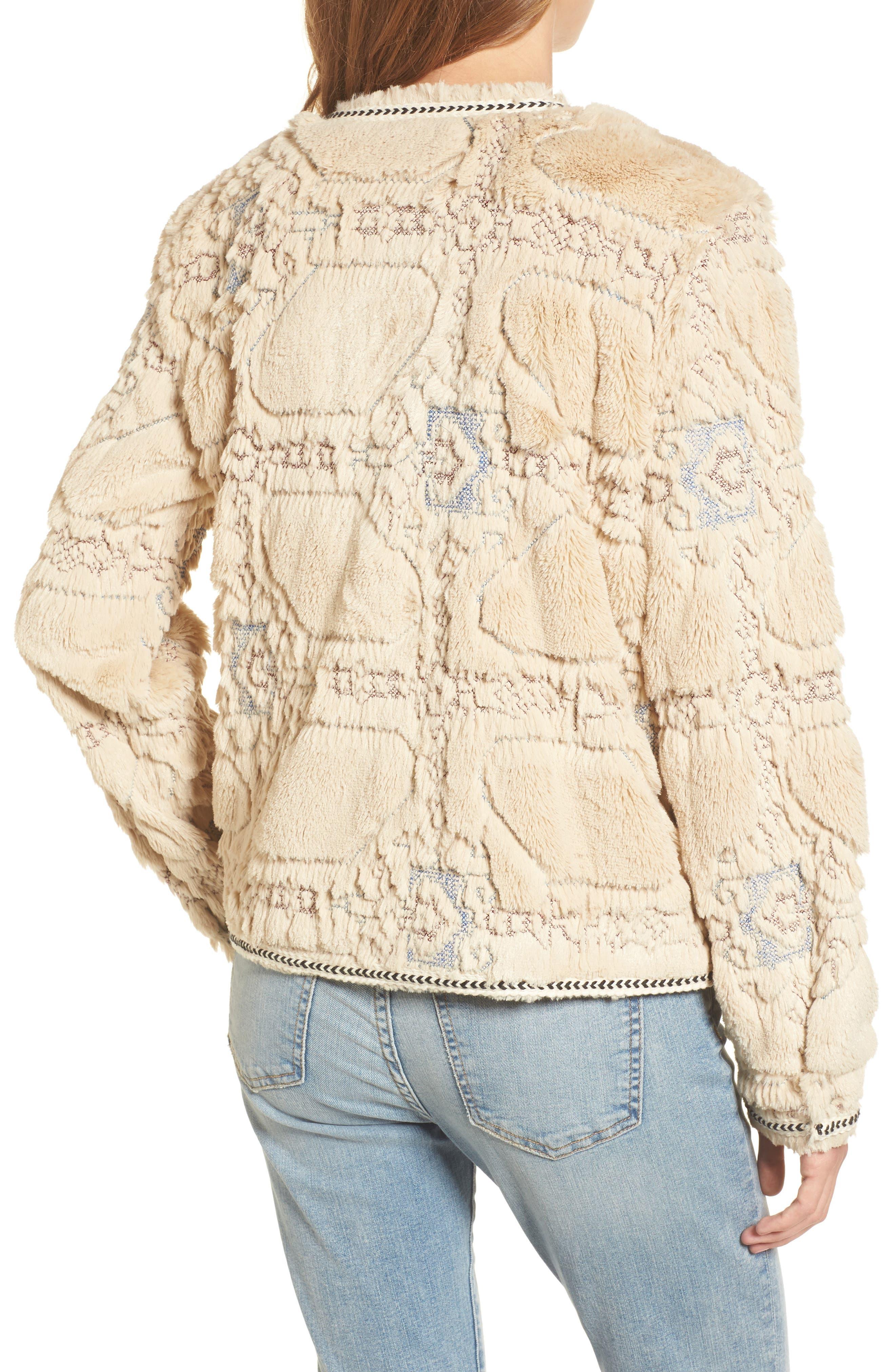 BNCI Embossed Faux Fur Cardigan,                             Alternate thumbnail 2, color,                             Cream