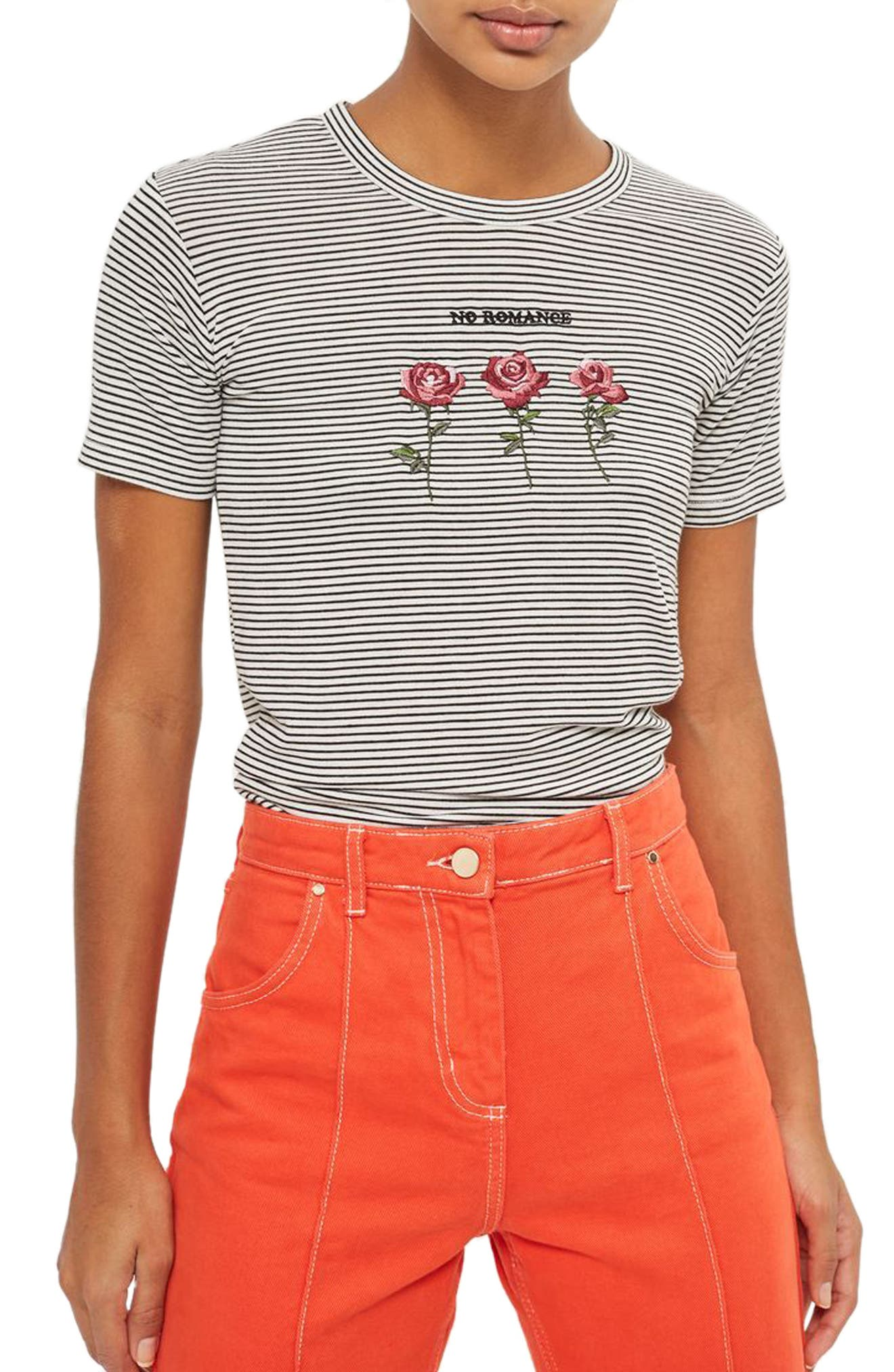 Alternate Image 1 Selected - Topshop No Romance Graphic Stripe Tee