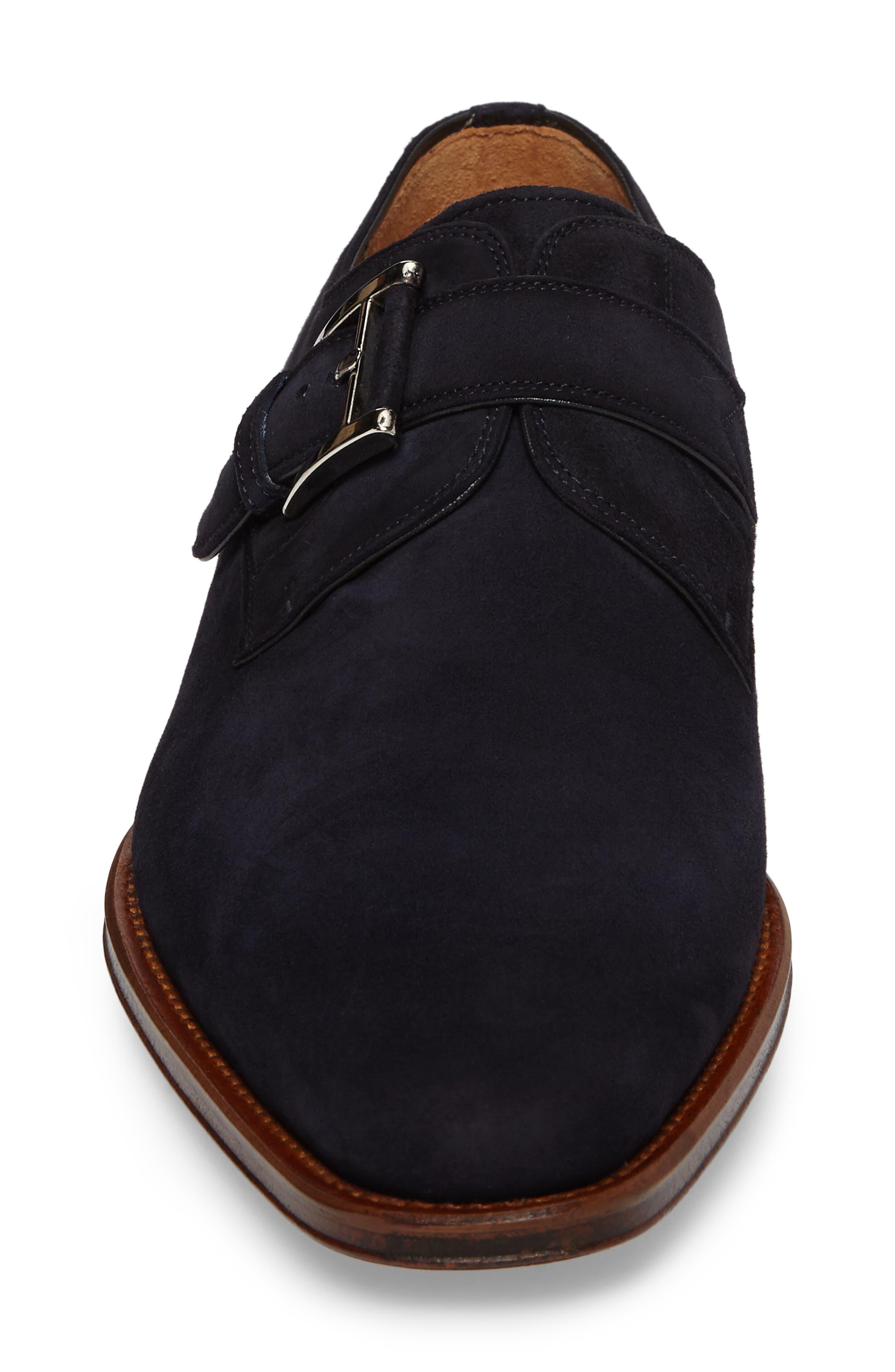 Enrique Monk Strap Shoe,                             Alternate thumbnail 4, color,                             Navy Suede