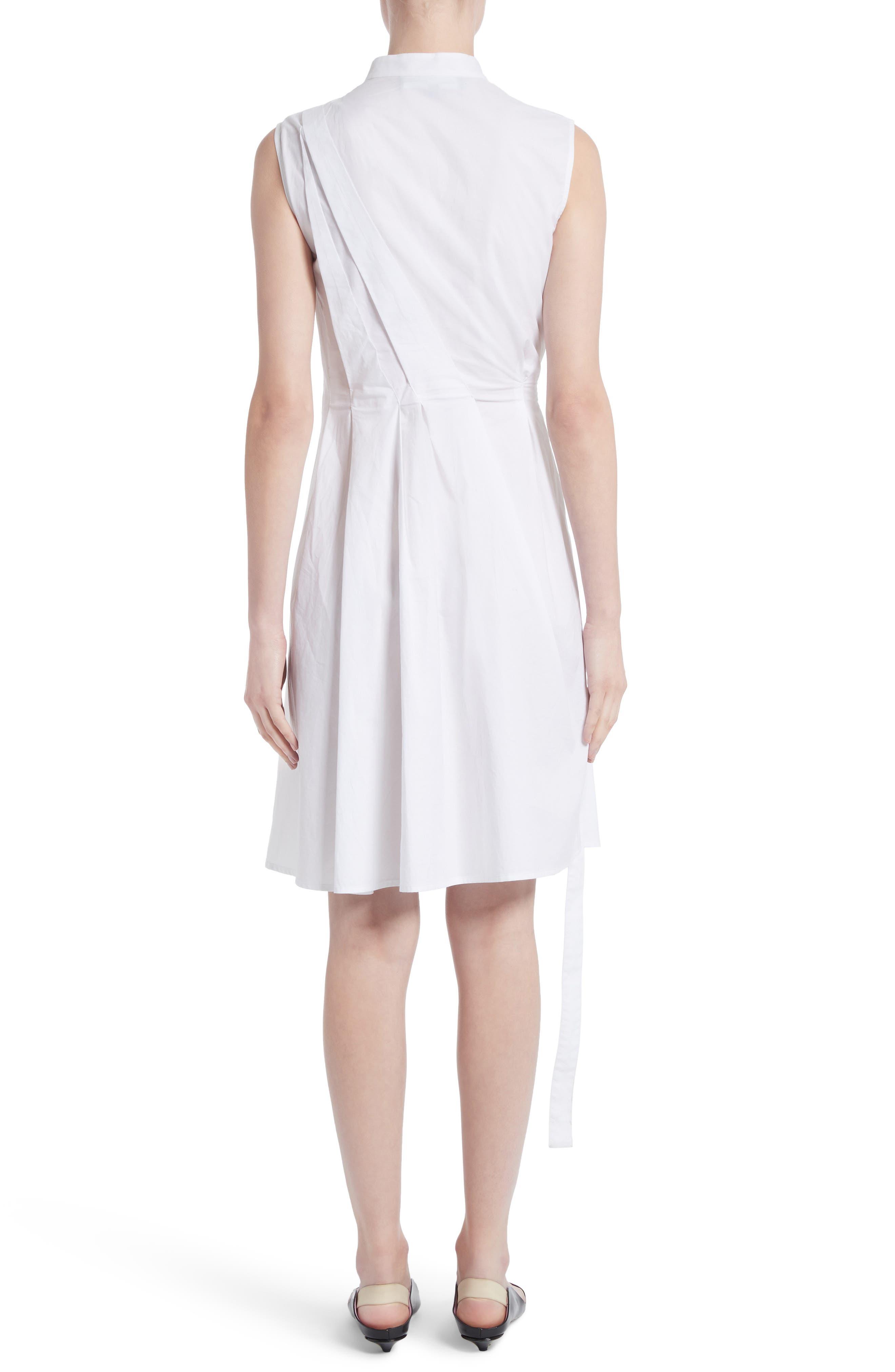 Cotton Poplin Wrap Dress,                             Alternate thumbnail 2, color,                             Optic White