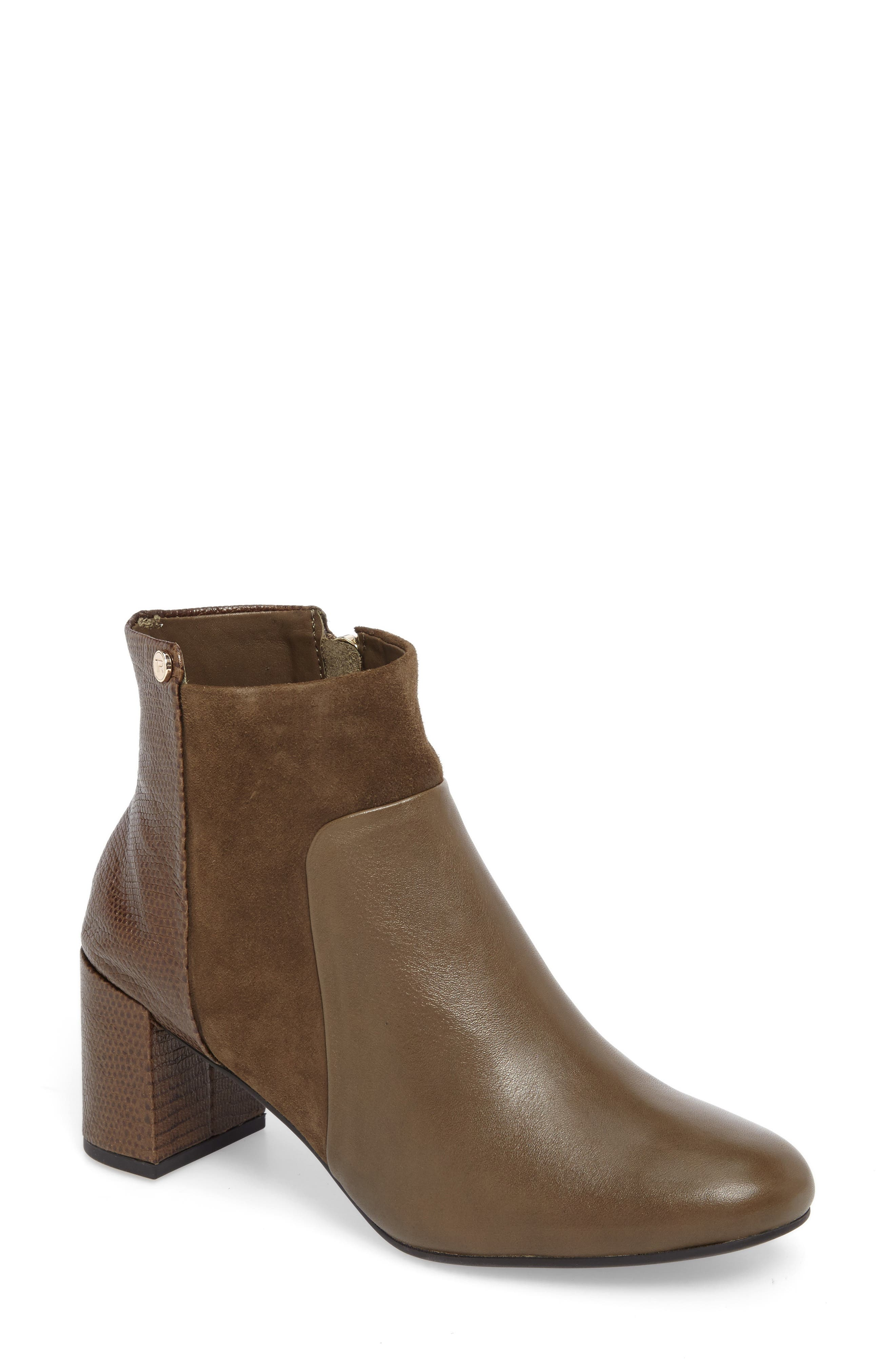 Camille Block Heel Bootie,                             Main thumbnail 1, color,                             Olive Leather