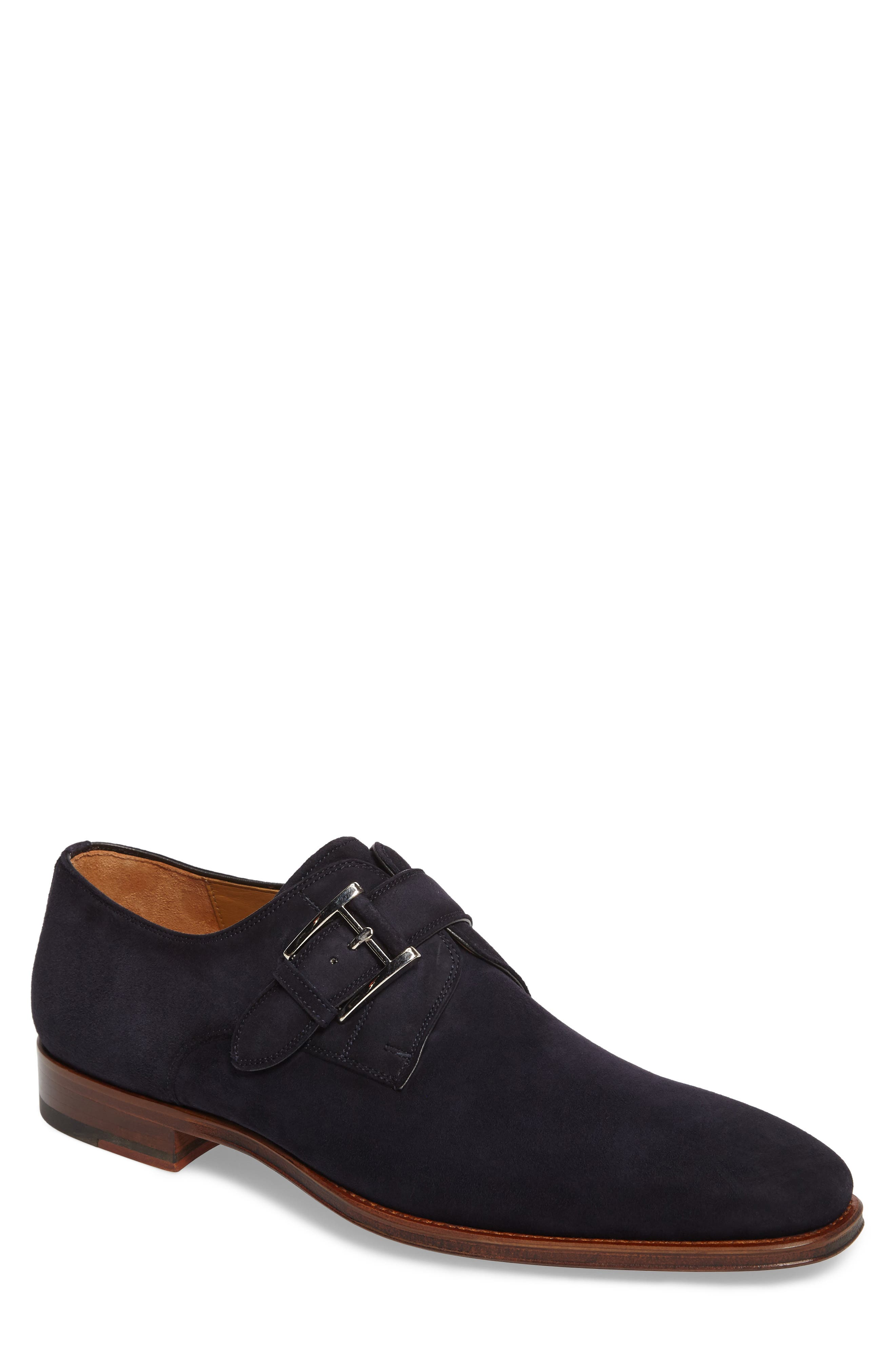 Enrique Monk Strap Shoe,                         Main,                         color, Navy Suede