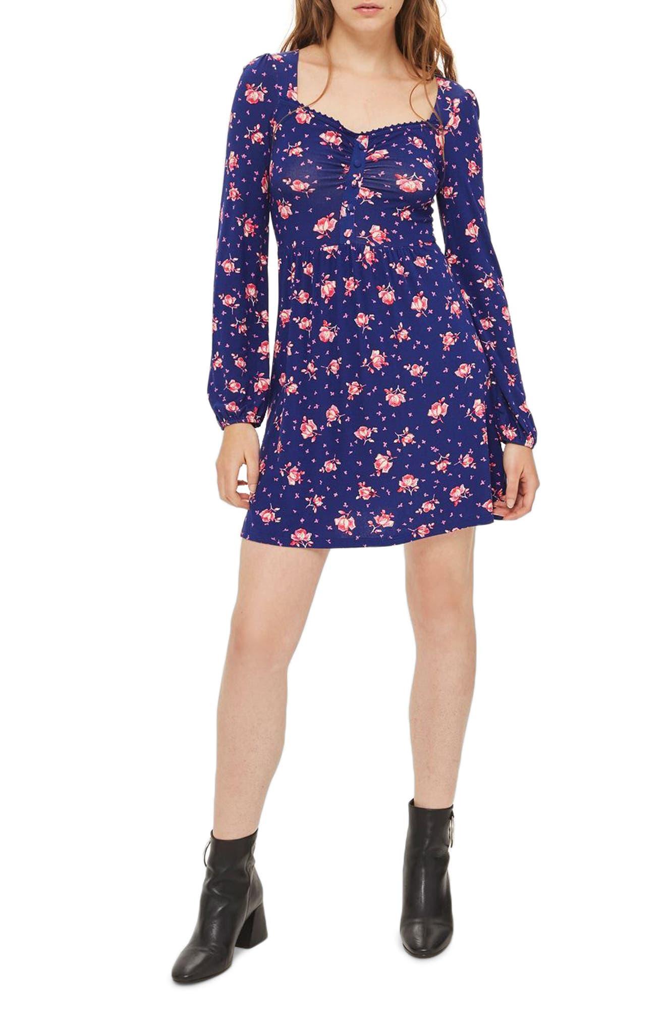 Floral Skater Dress,                         Main,                         color, Blue Multi