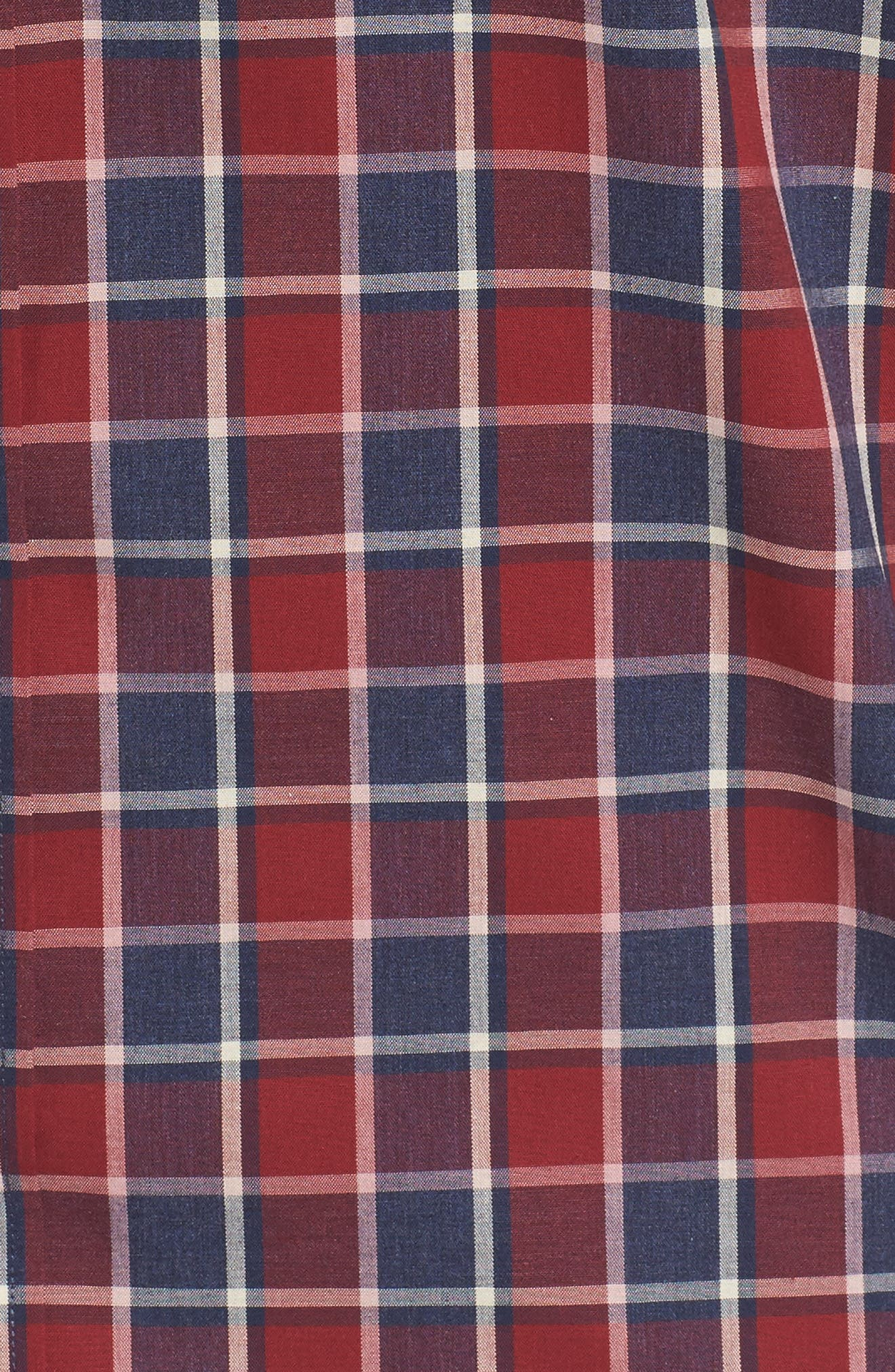 Non-Iron Check Sport Shirt,                             Alternate thumbnail 5, color,                             Red Ruby Heathered Check