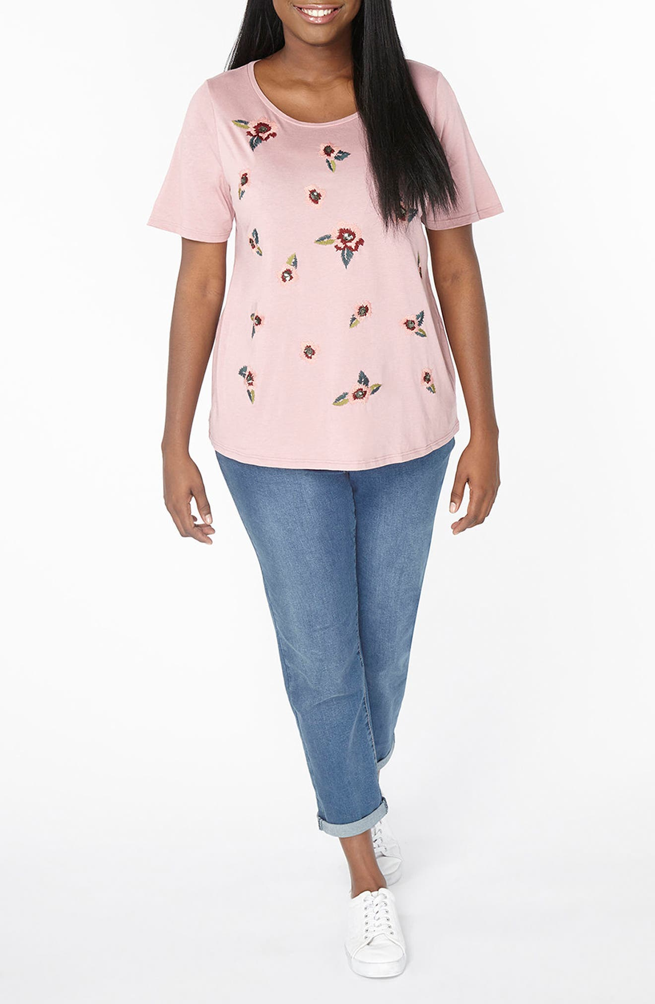 Alternate Image 4  - Evans Floral Embroidered Tee (Plus Size)