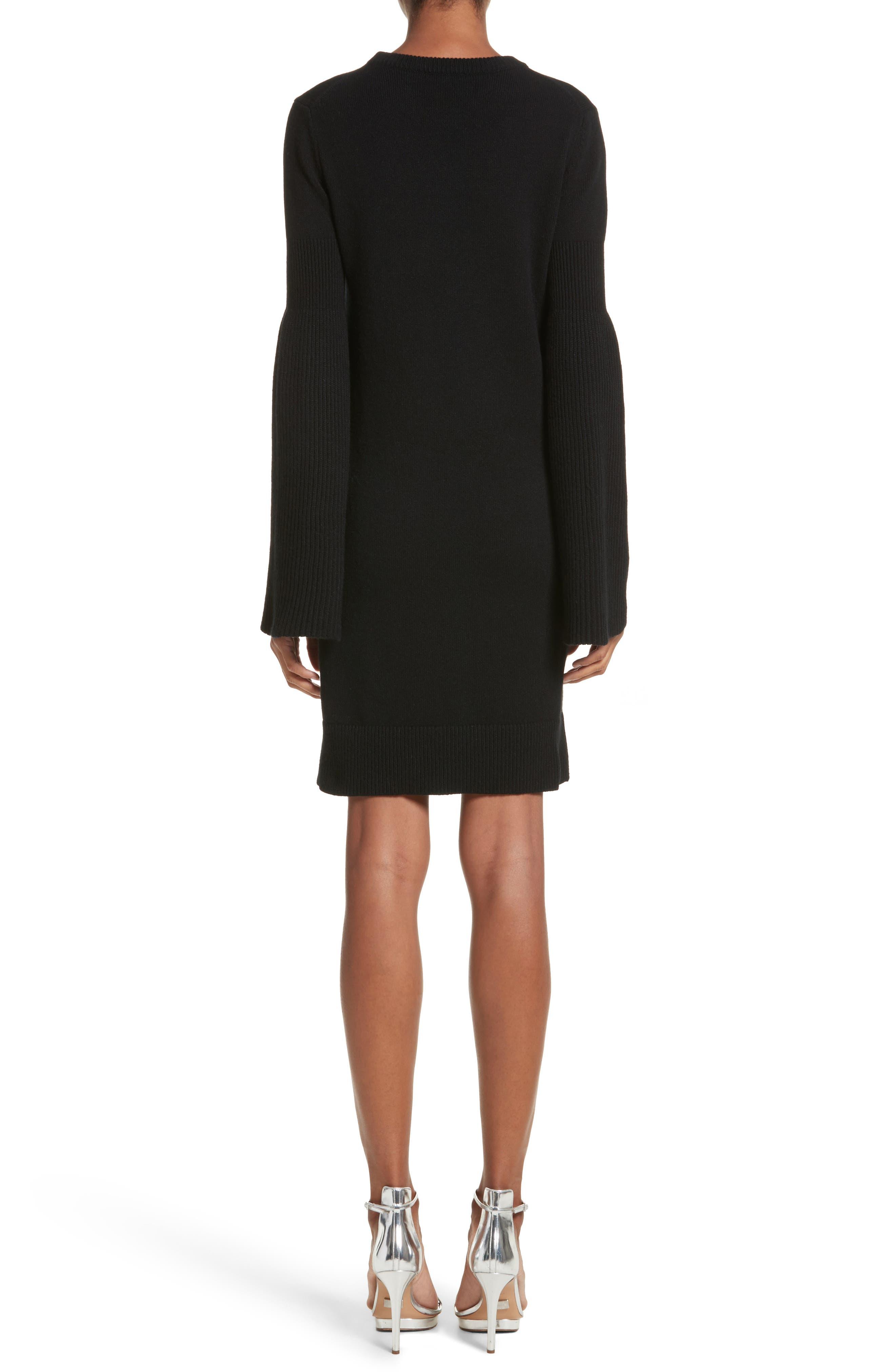 Cashmere Blend Bell Sleeve Dress,                             Alternate thumbnail 2, color,                             Black