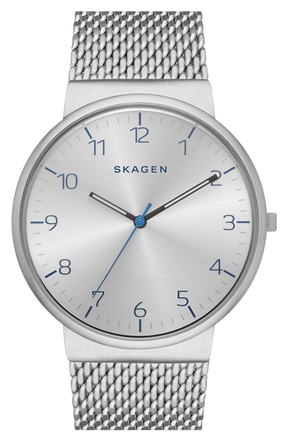 Alternate Image 1 Selected - Skagen 'Ancher' Mesh Strap Watch, 40mm