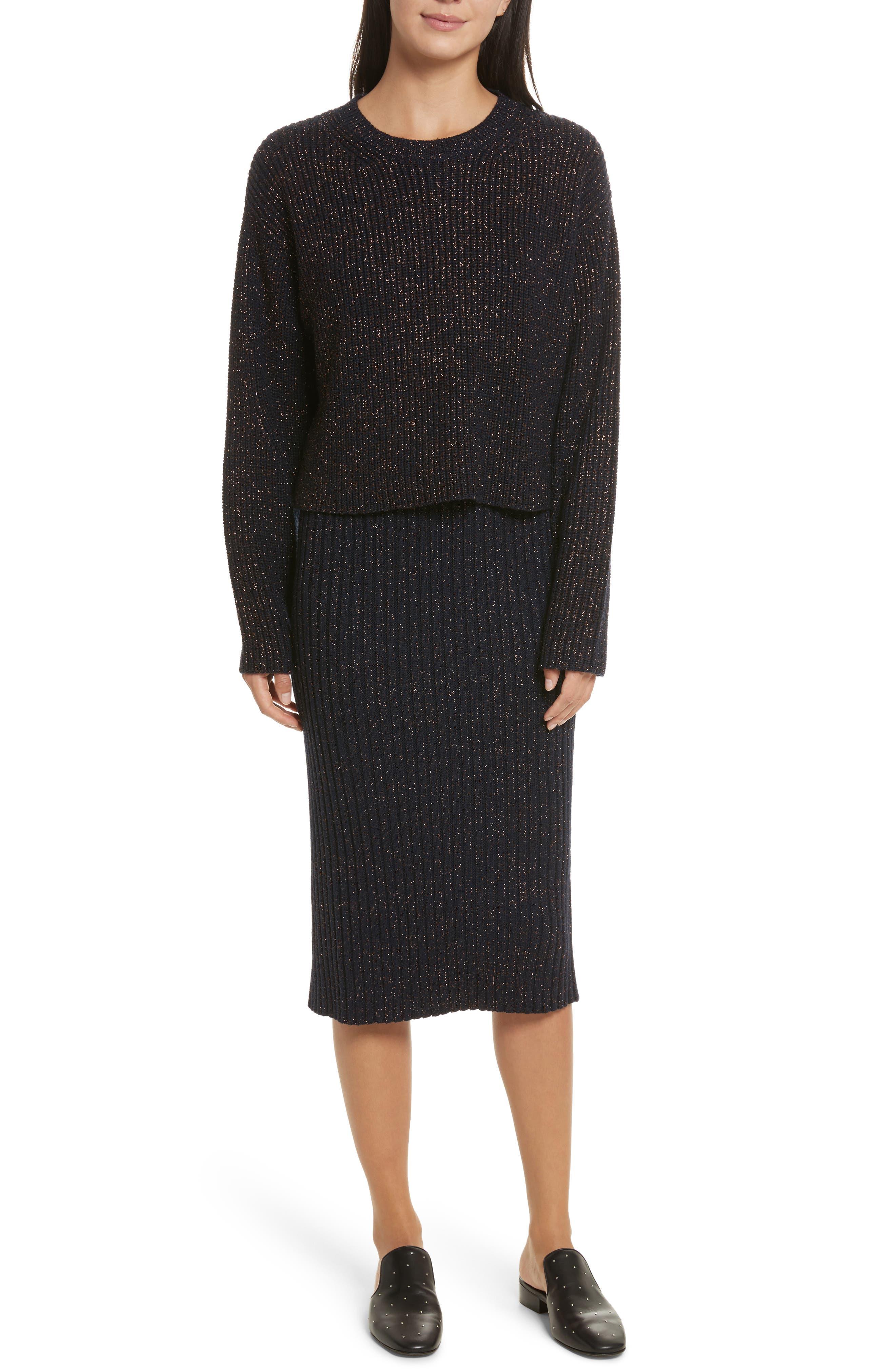Leyton Metallic Knit Merino Wool Blend Sweater,                             Alternate thumbnail 2, color,                             Navy