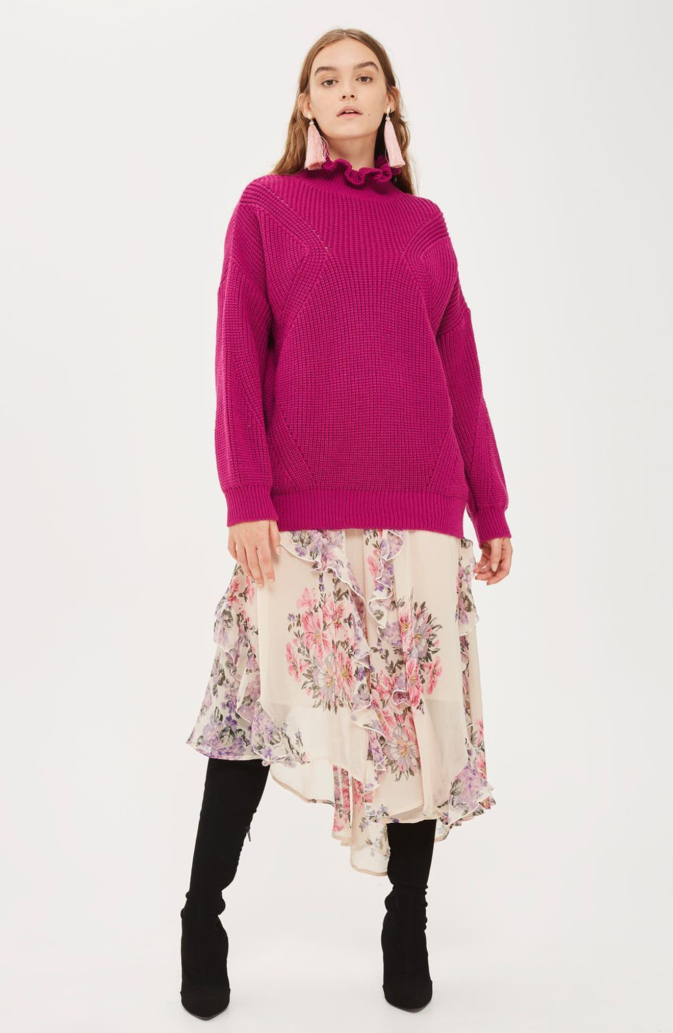 Frill Neck Sweater,                             Alternate thumbnail 2, color,                             Bright Pink