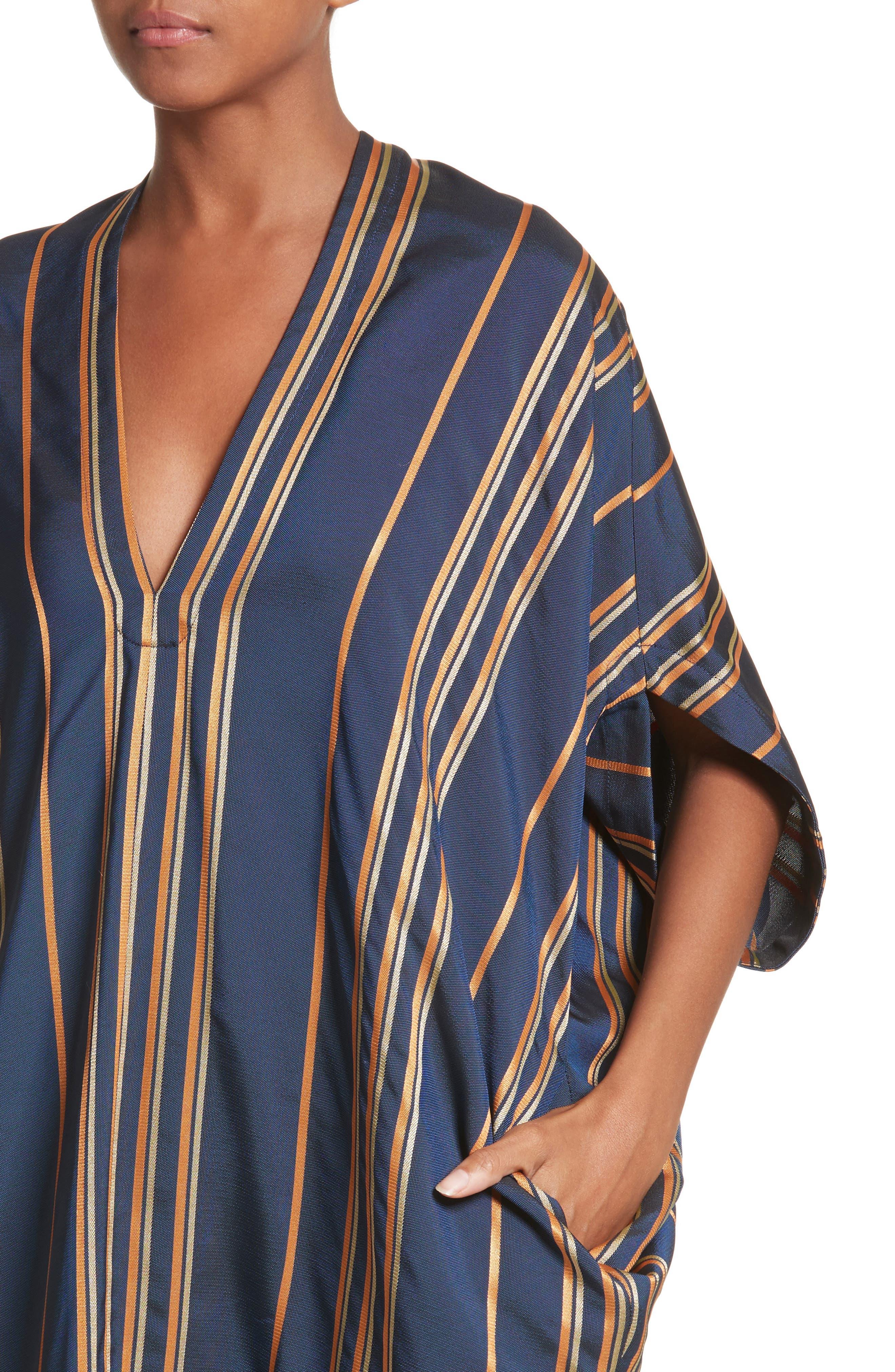 Stripe Dress,                             Alternate thumbnail 4, color,                             Mykonos/Papaya