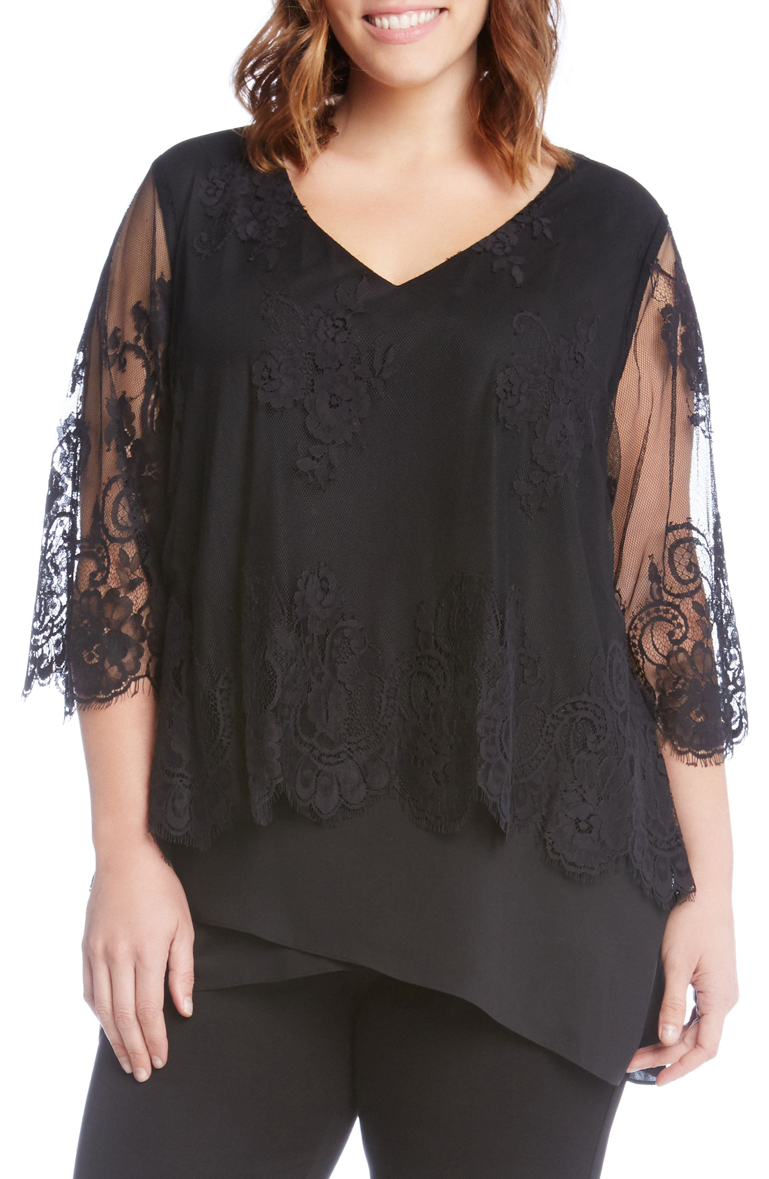 Lace Overlay Asymmetrical Top,                         Main,                         color, Black
