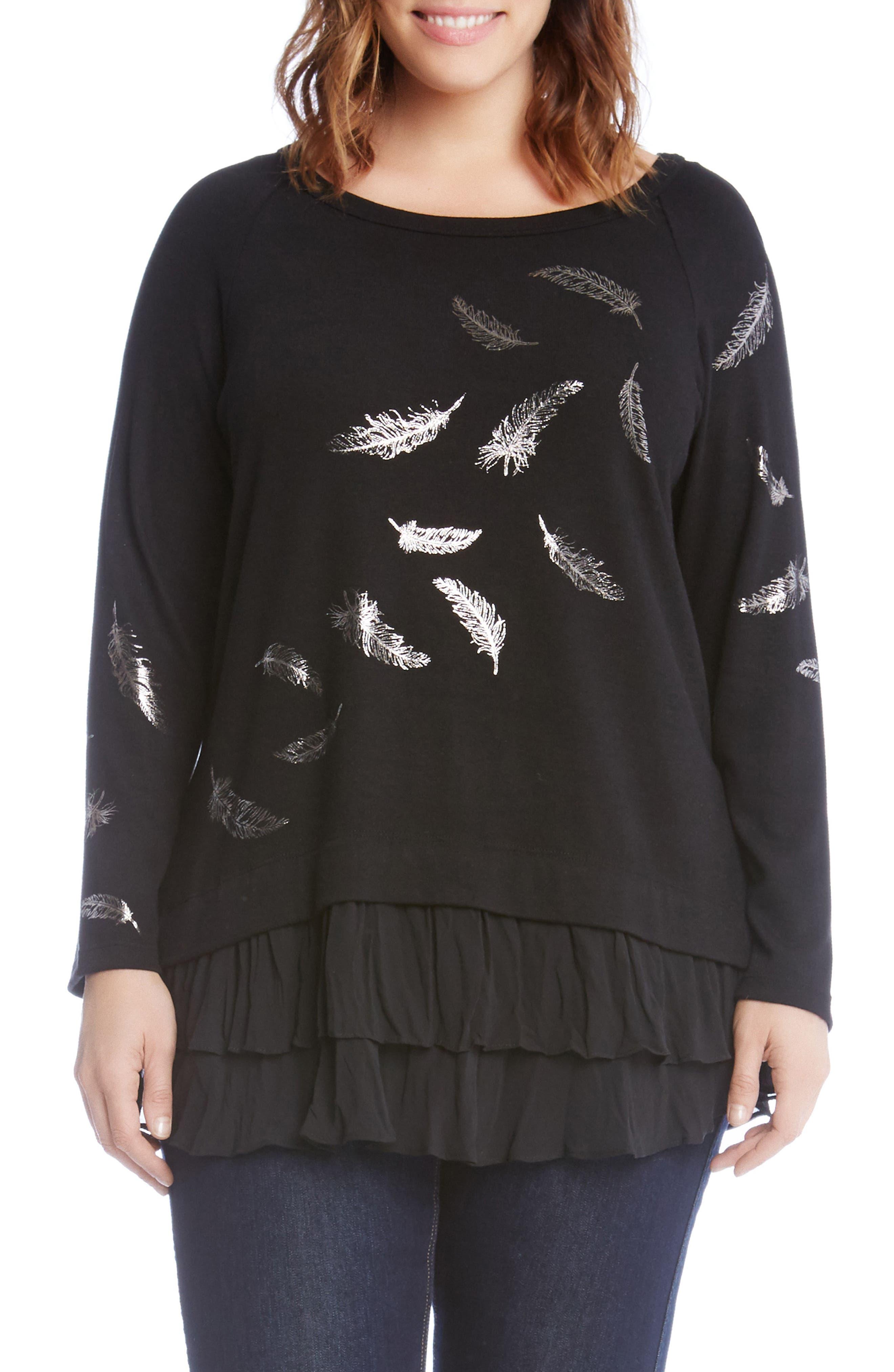 Feather Print Ruffle Hem Sweater,                         Main,                         color, Black