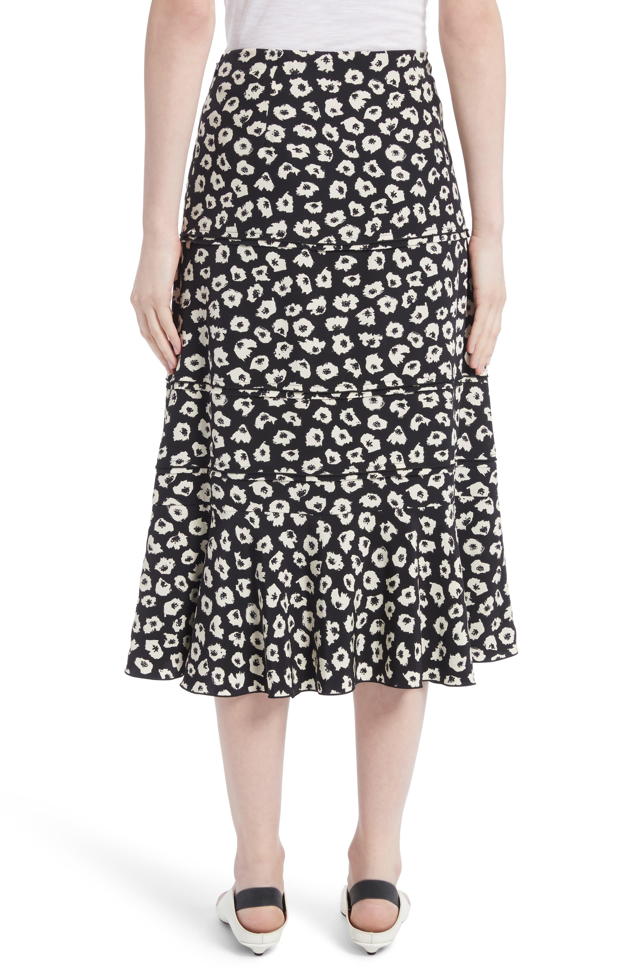 Ruffle Print Silk Midi Skirt,                             Alternate thumbnail 3, color,                             Black/ Off White Jasmine