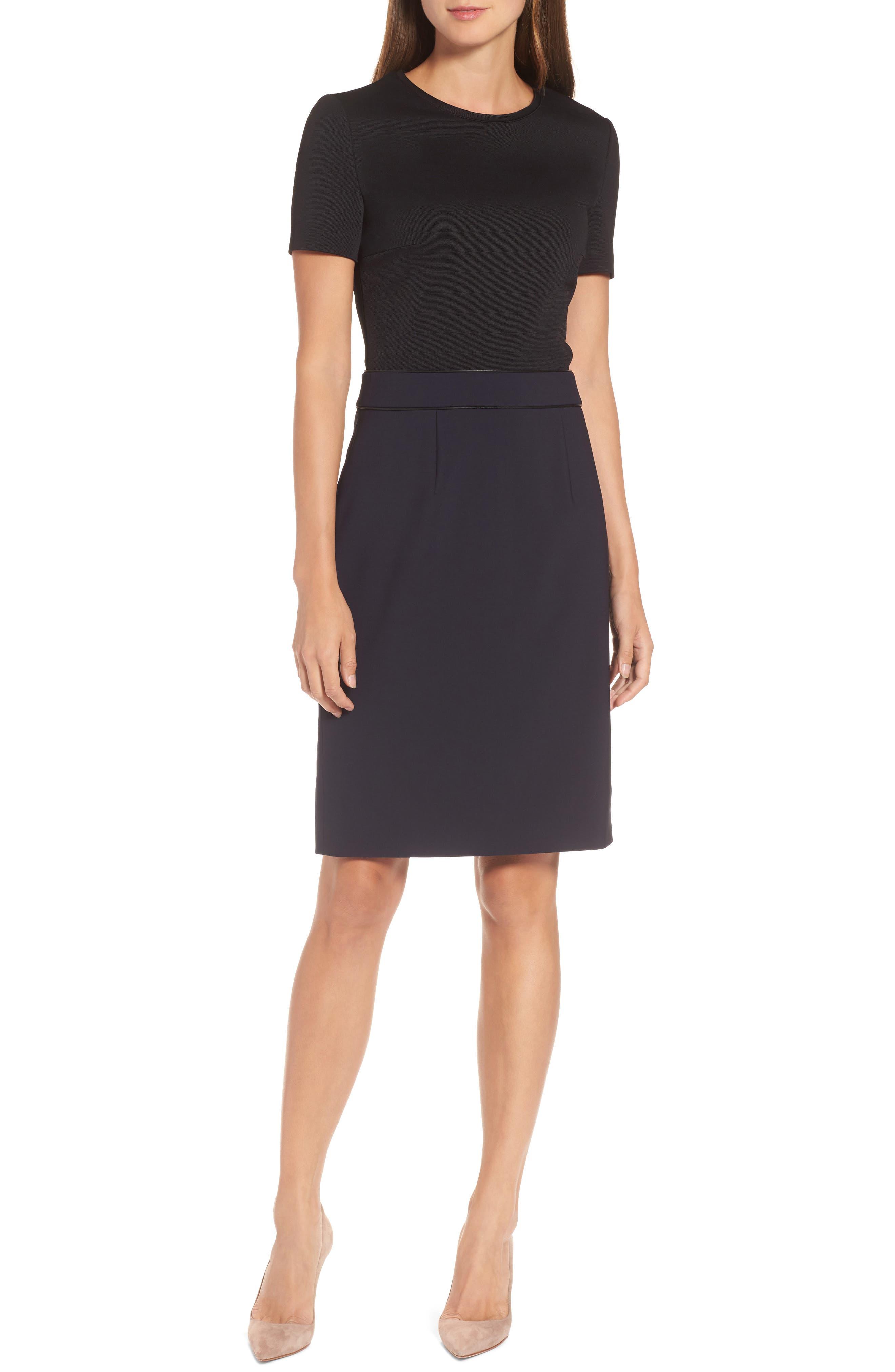 BOSS Dualisa Mixed Media Sheath Dress (Regular & Petite)