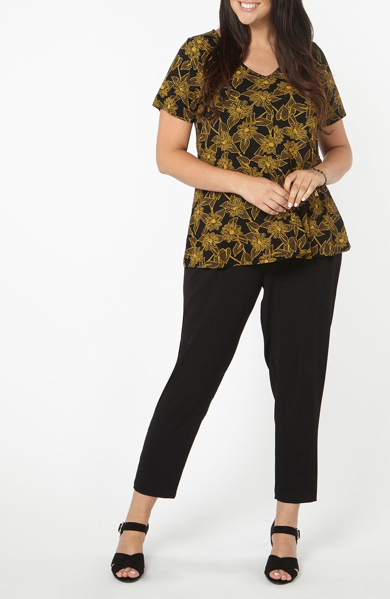 Floral Print Top,                             Alternate thumbnail 4, color,                             Yellow