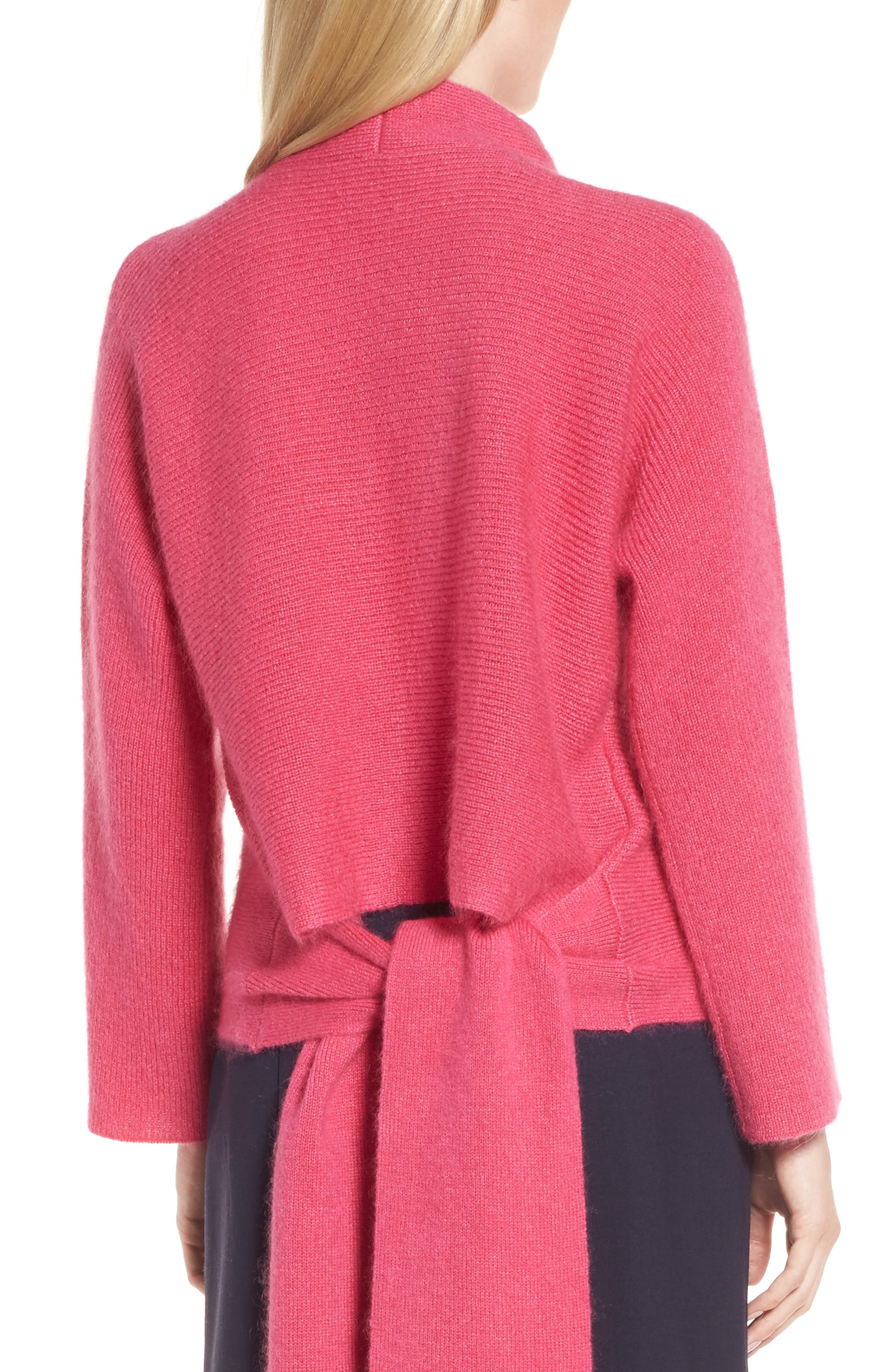 Tie Back Sweater,                             Alternate thumbnail 4, color,                             Pink Rouge