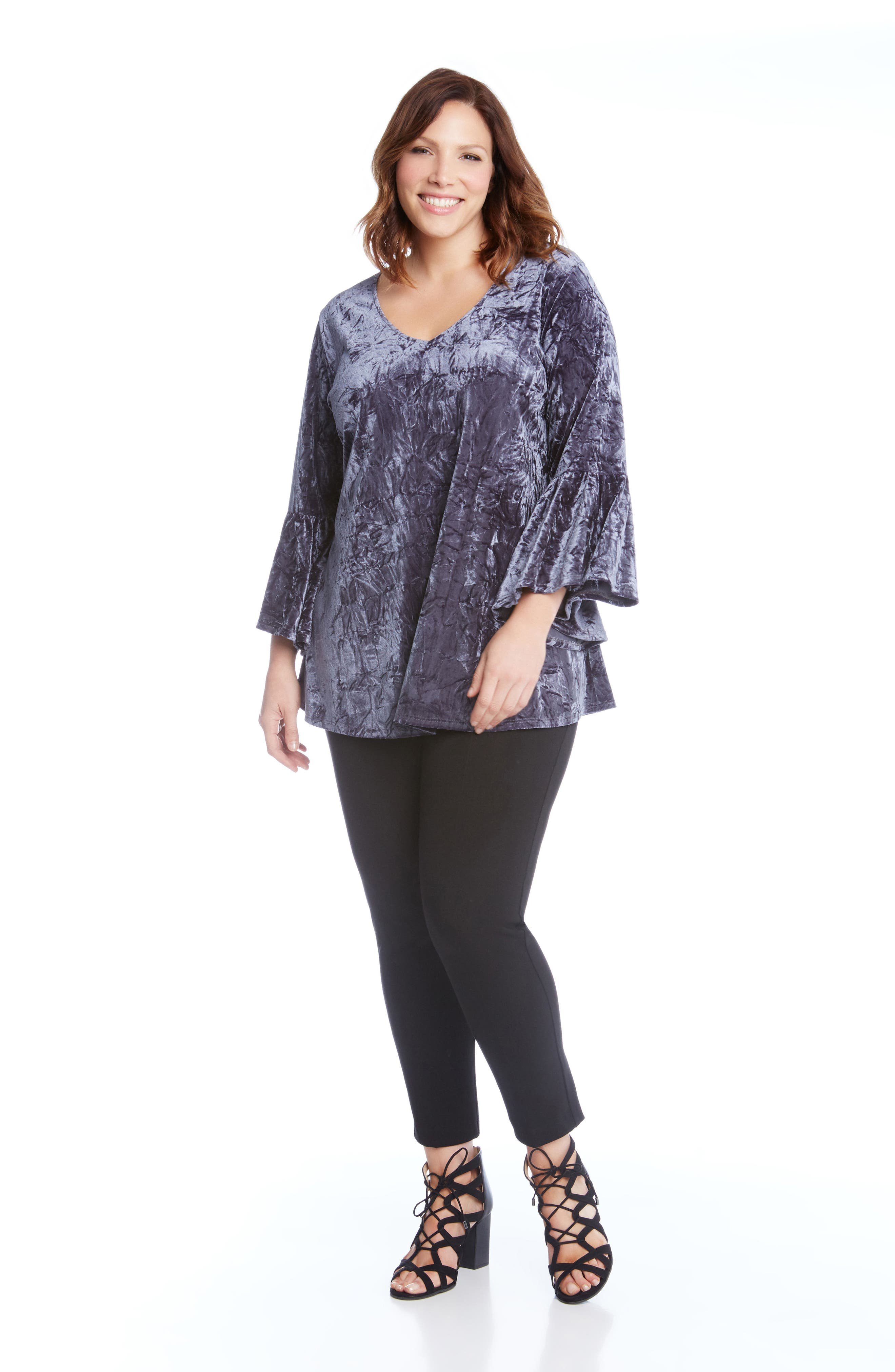 Alternate Image 2  - Karen Kane Bell Sleeve Crushed Velvet Top (Plus Size)