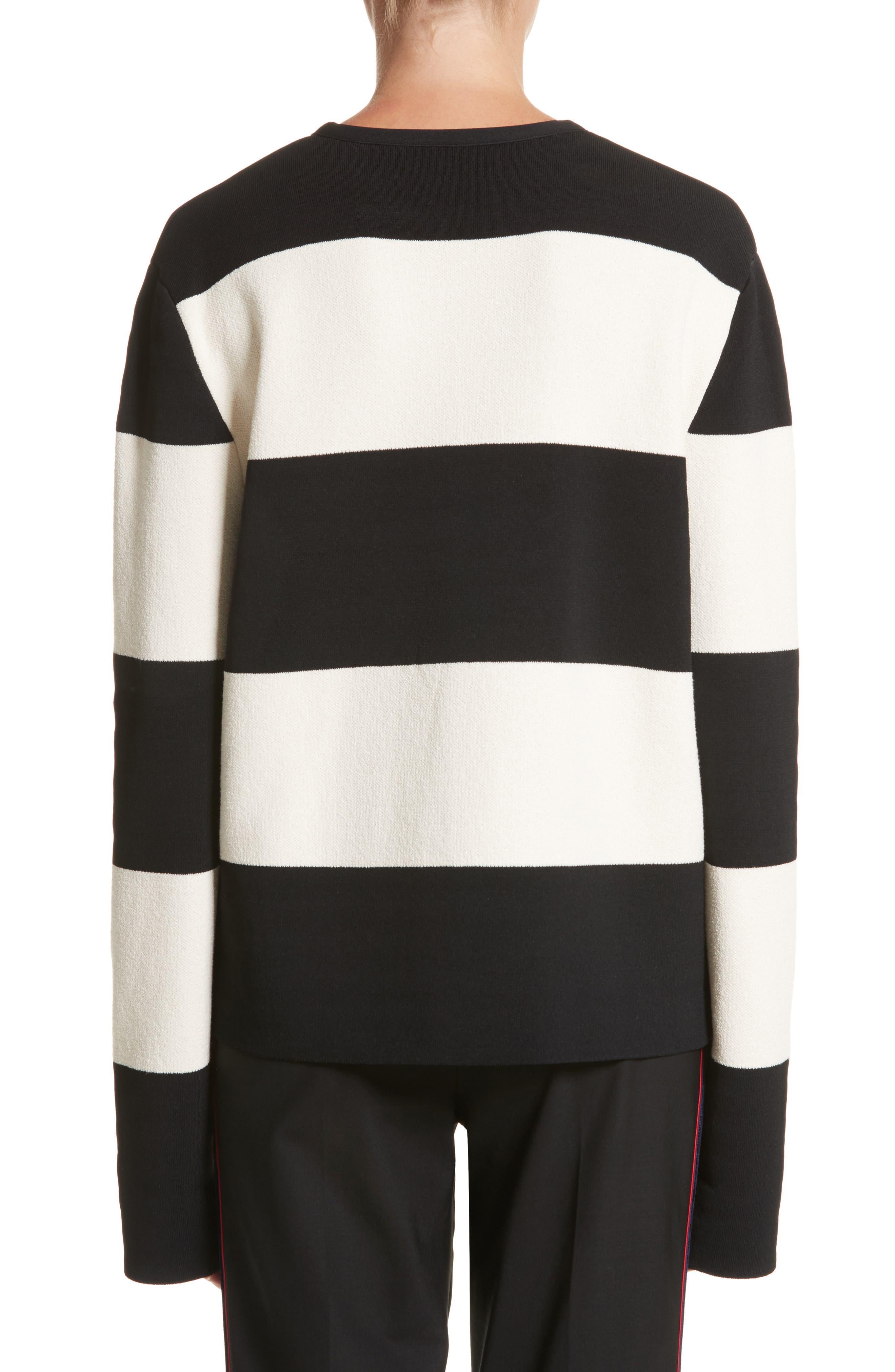 Folded Stripe Sweater,                             Alternate thumbnail 2, color,                             Ivory/ Black
