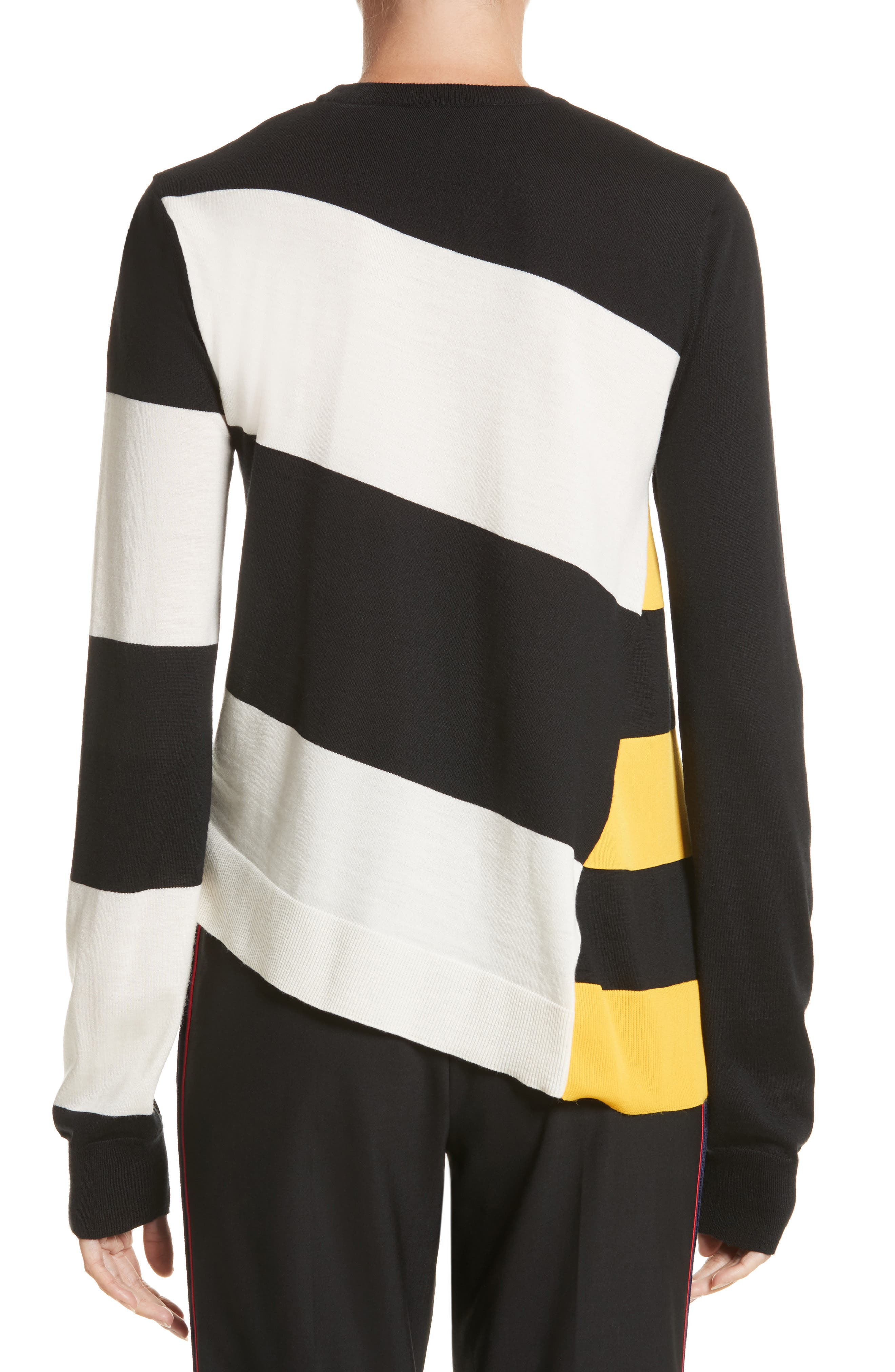 Bicolor Stripe Merino Wool Blend Sweater,                             Alternate thumbnail 2, color,                             Black/ Off White/ Yellow