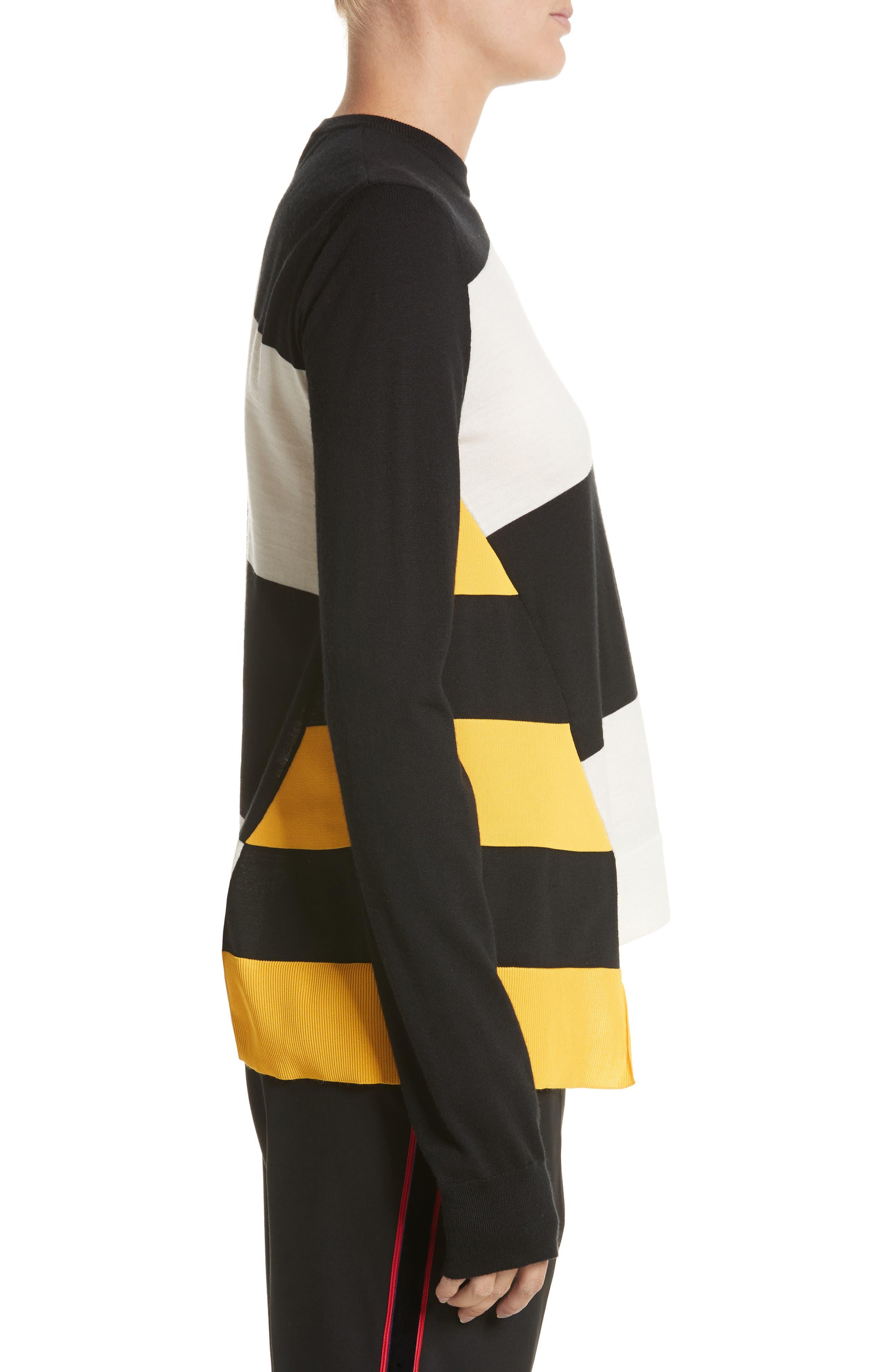 Bicolor Stripe Merino Wool Blend Sweater,                             Alternate thumbnail 4, color,                             Black/ Off White/ Yellow