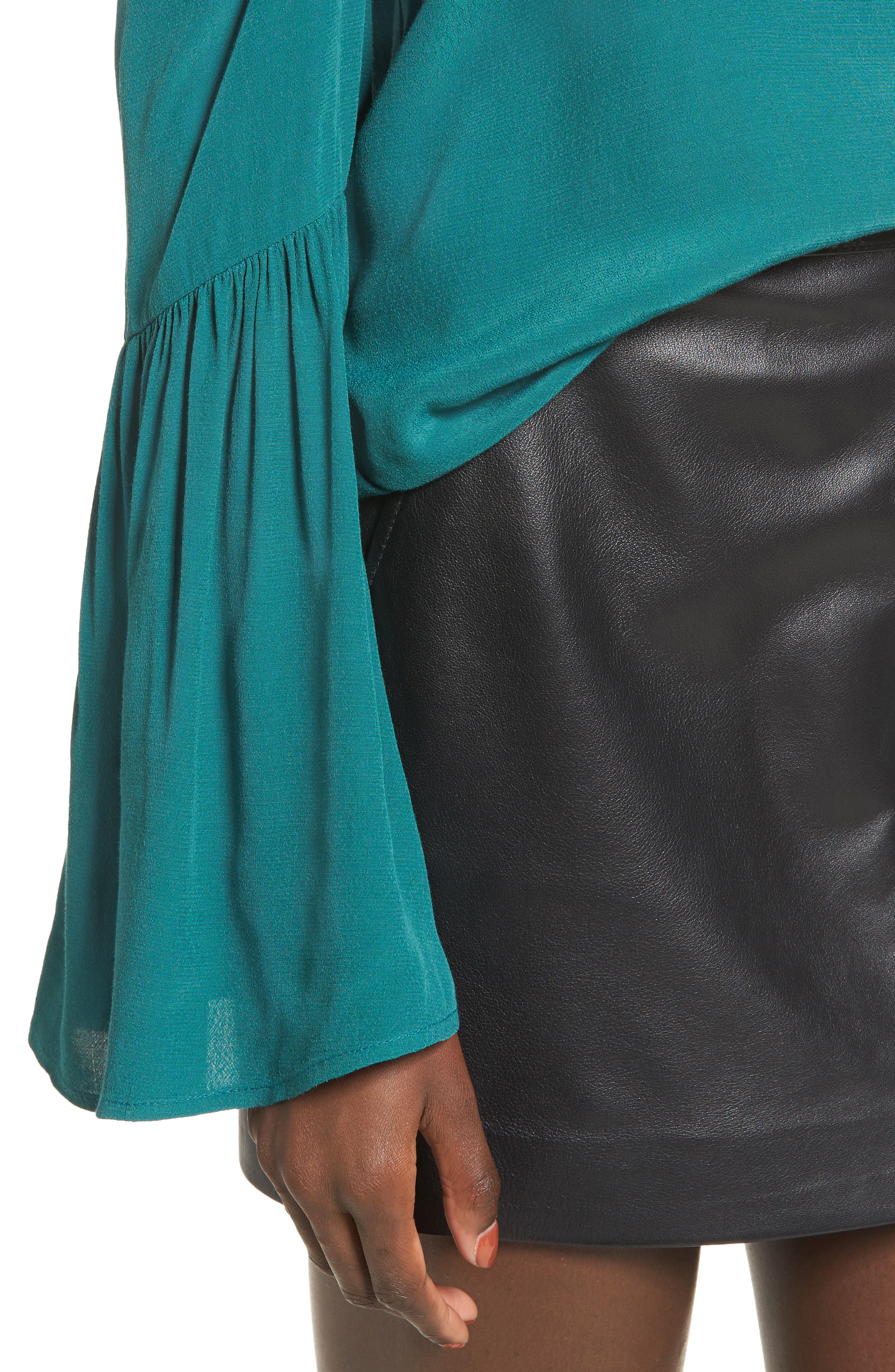 Alternate Image 4  - Leith One-Shoulder Bell Sleeve Top