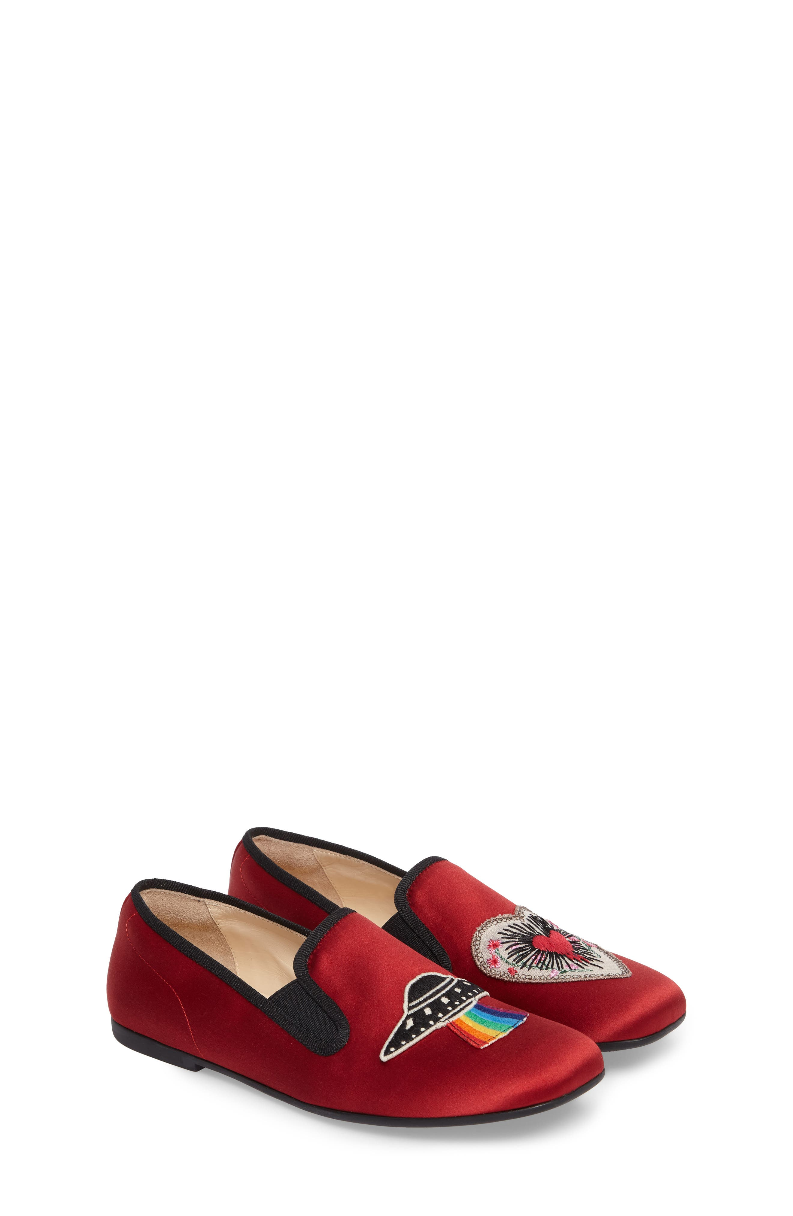 Nannie Appliqué Loafer Flat,                             Main thumbnail 1, color,                             Red