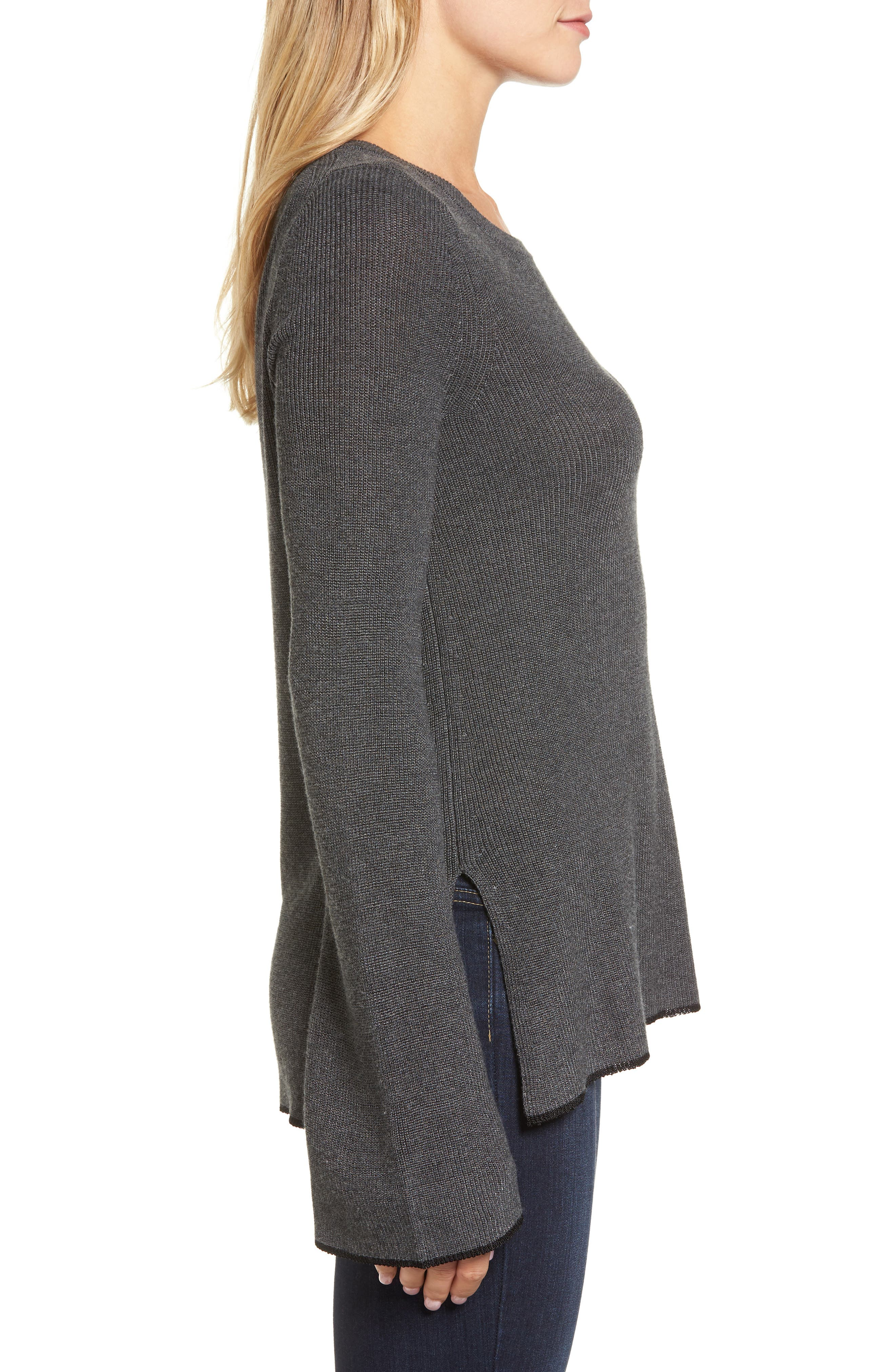 Alternate Image 3  - Vince Camuto Tipped Bell Sleeve Sweater (Regular & Petite)