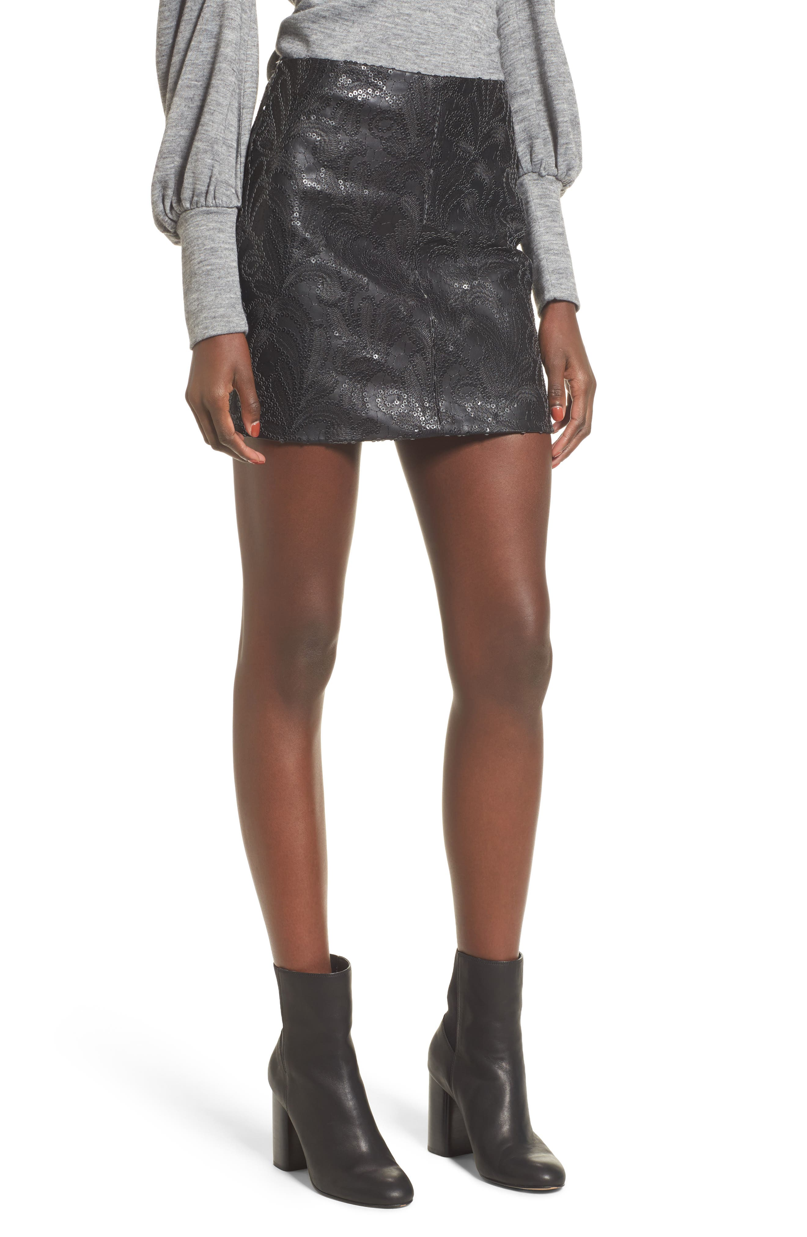 Sequin Faux Leather Miniskirt,                             Main thumbnail 1, color,                             Hide And Sequin