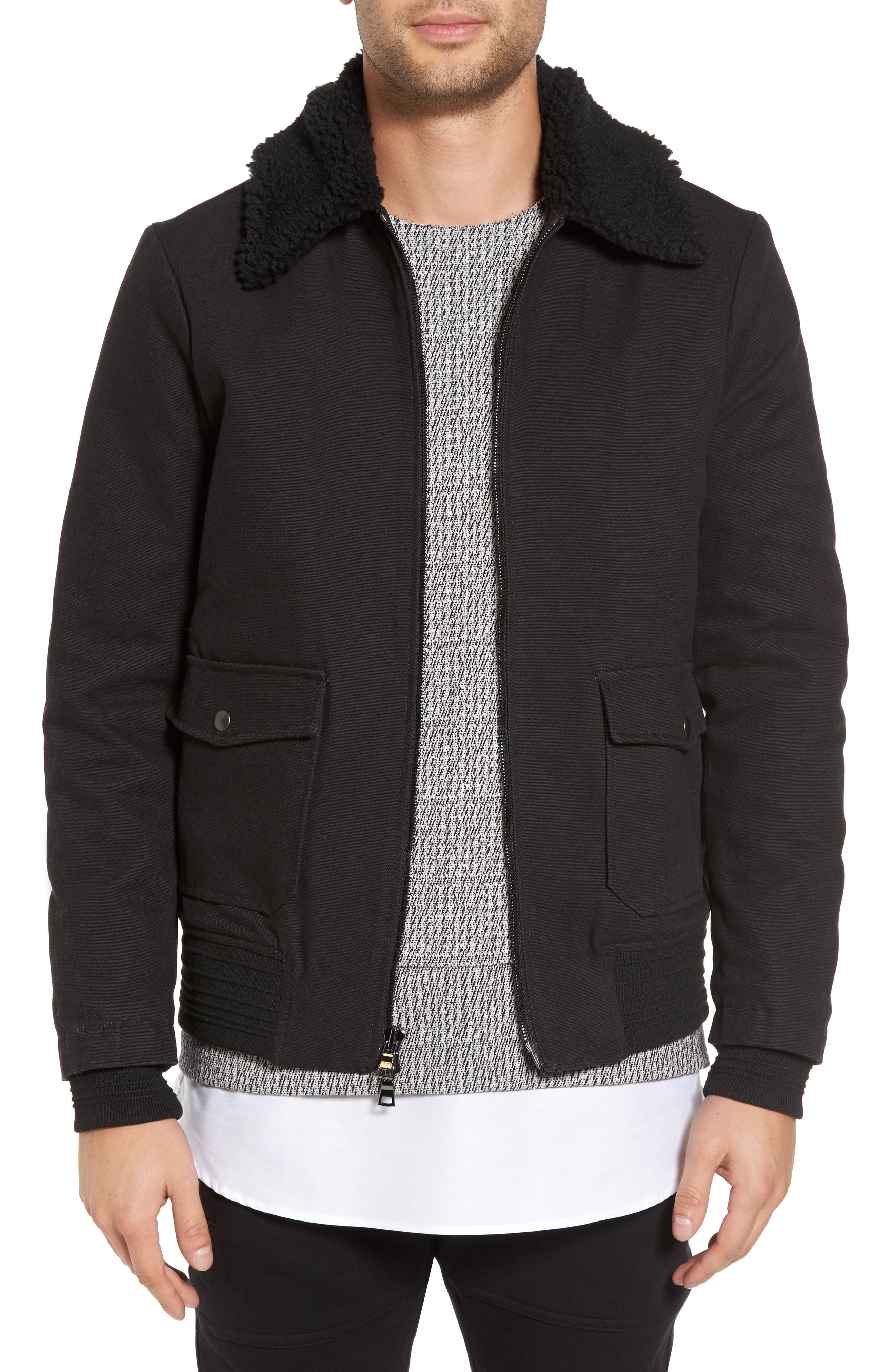 Robinson Bomber Jacket with Faux Shearling Collar,                         Main,                         color, Black