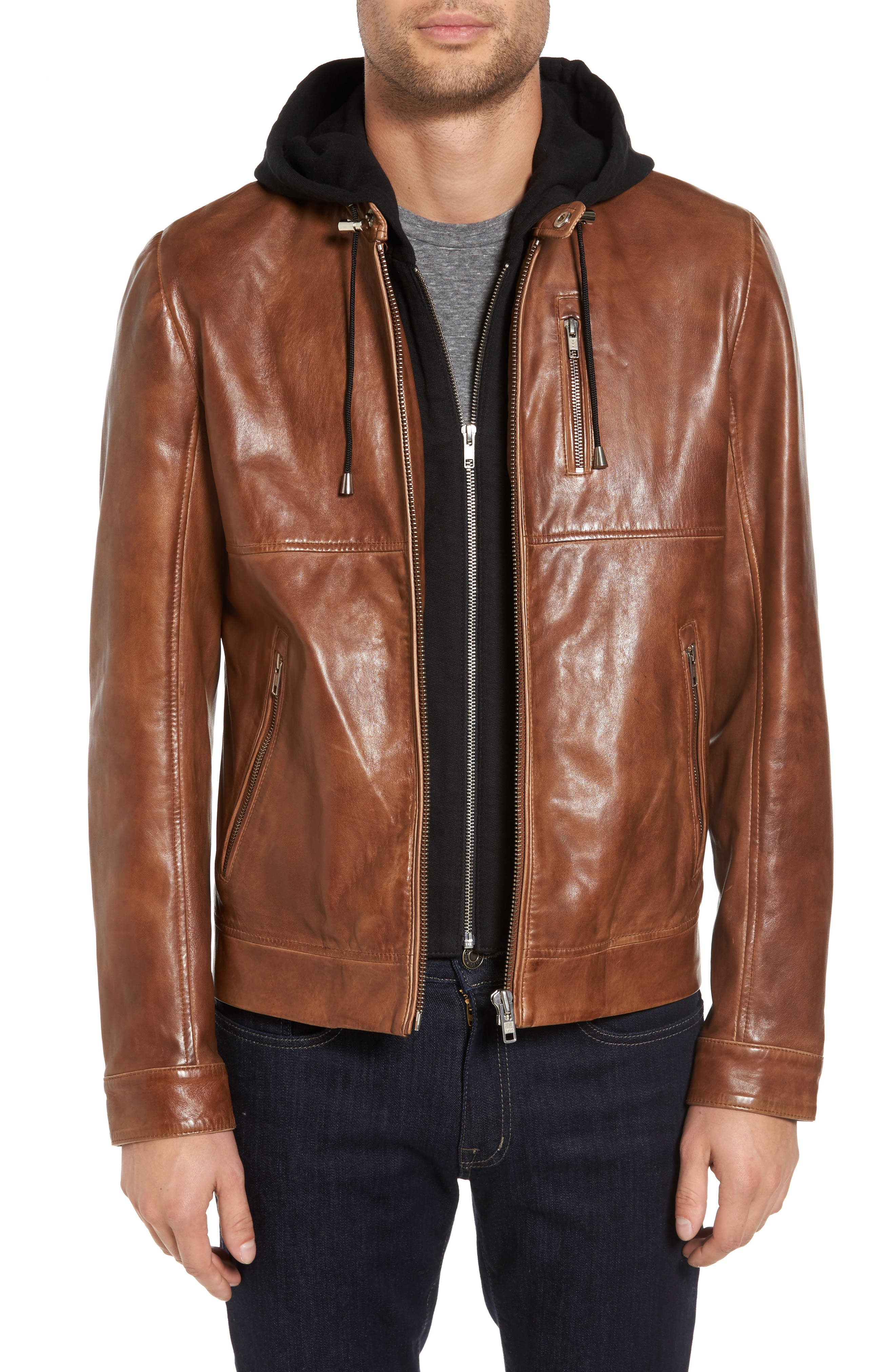 Leather Moto Jacket with Removable Hood,                             Main thumbnail 1, color,                             Luggage Brown