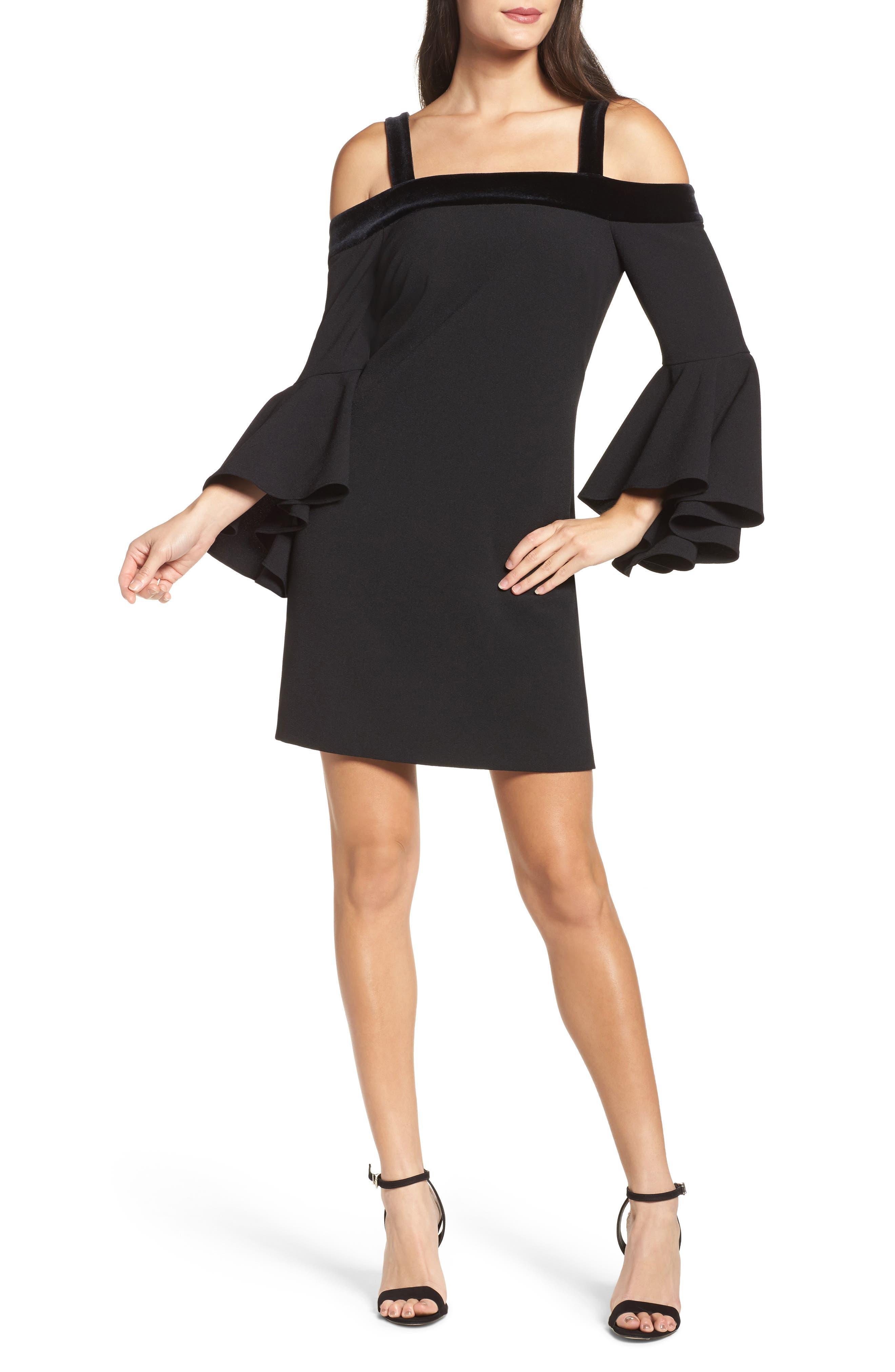 Bell Sleeve Cold Shoulder Shift Dress,                         Main,                         color, Black