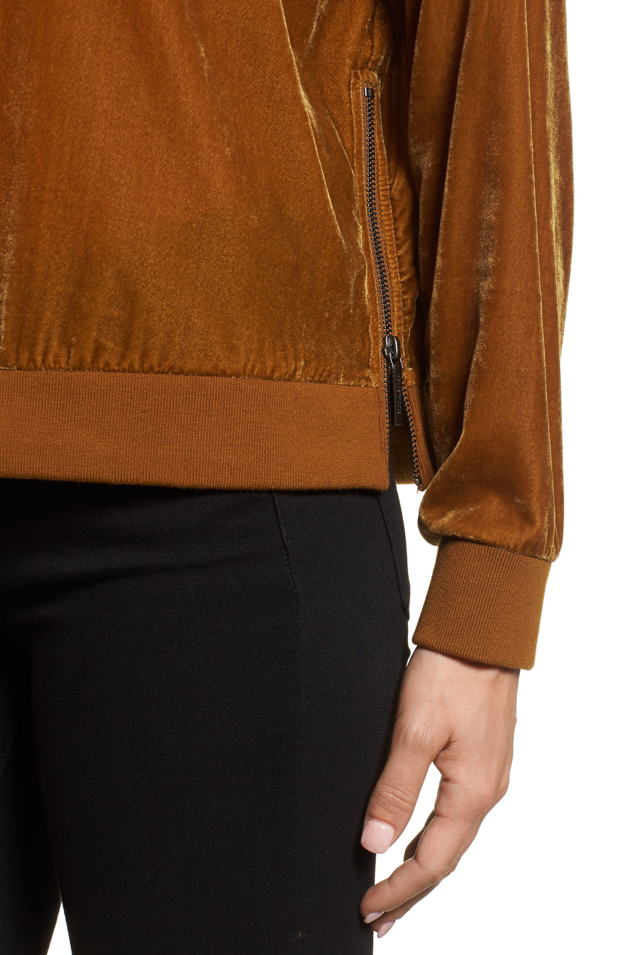 Zipper Velvet Sweatshirt,                             Alternate thumbnail 4, color,                             Gold