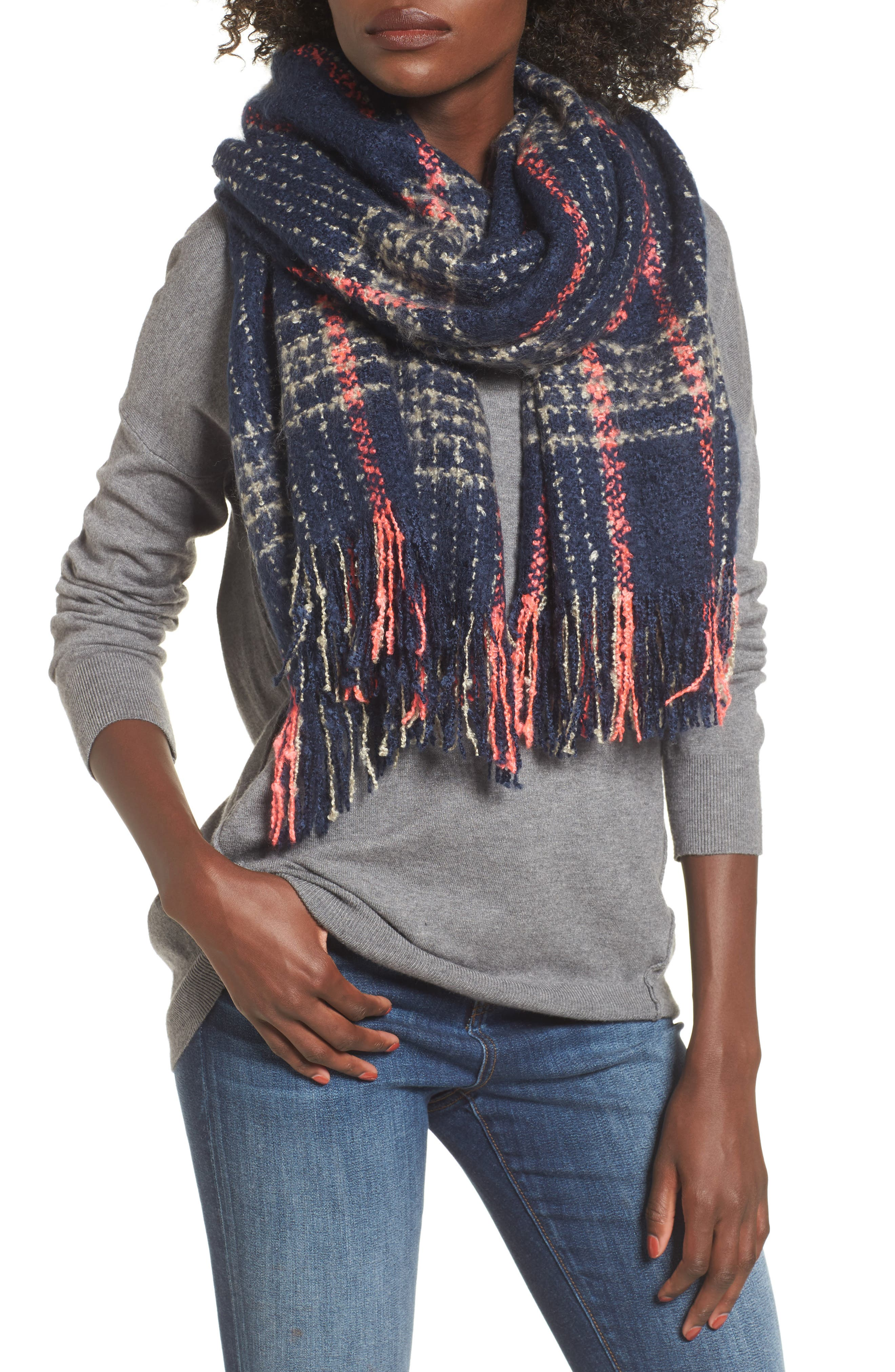 Speckled Check Blanket Scarf,                         Main,                         color, Navy Multi