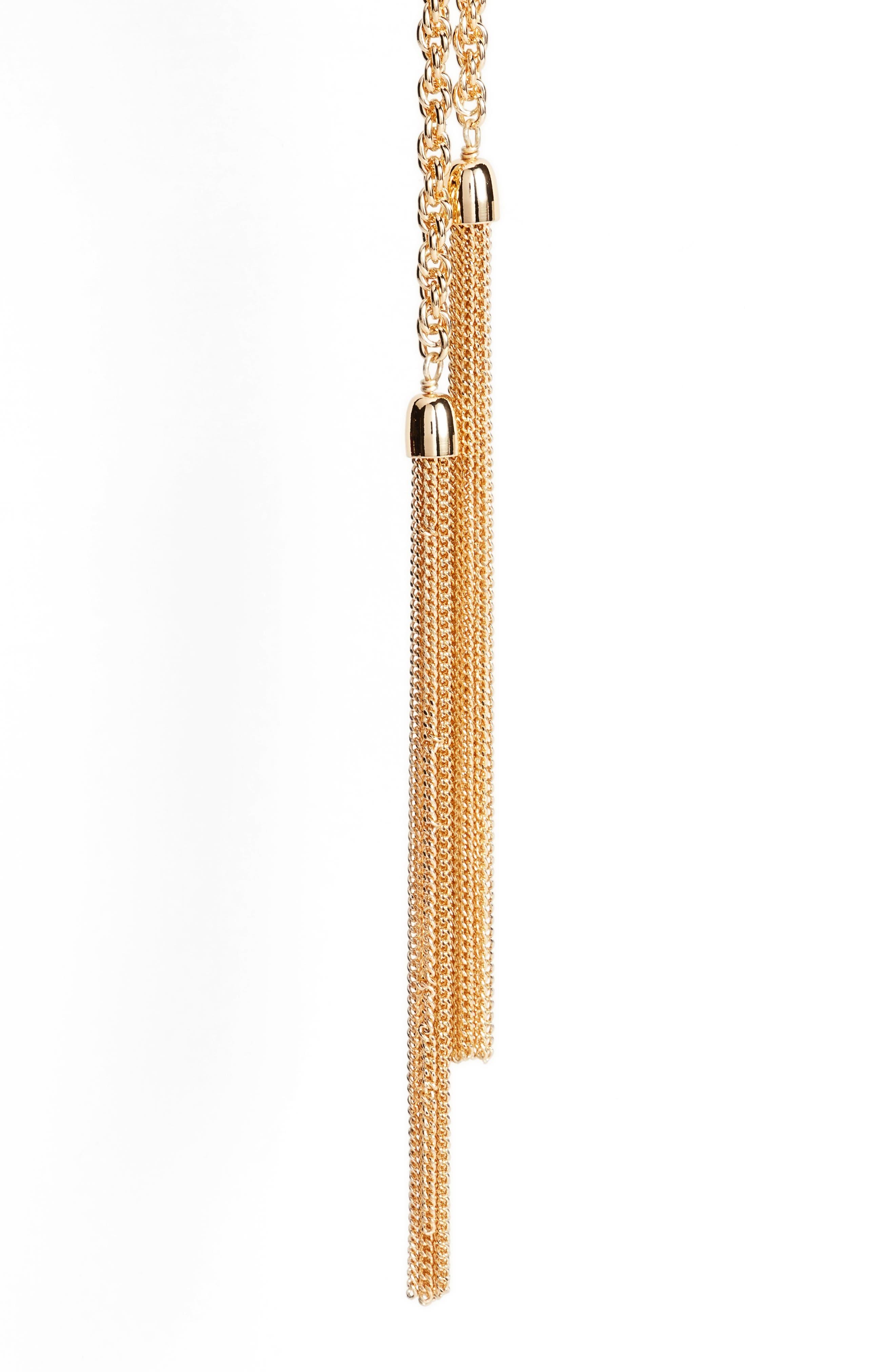 Alternate Image 2  - Halogen® Fine Chain Tassel Lariat Necklace