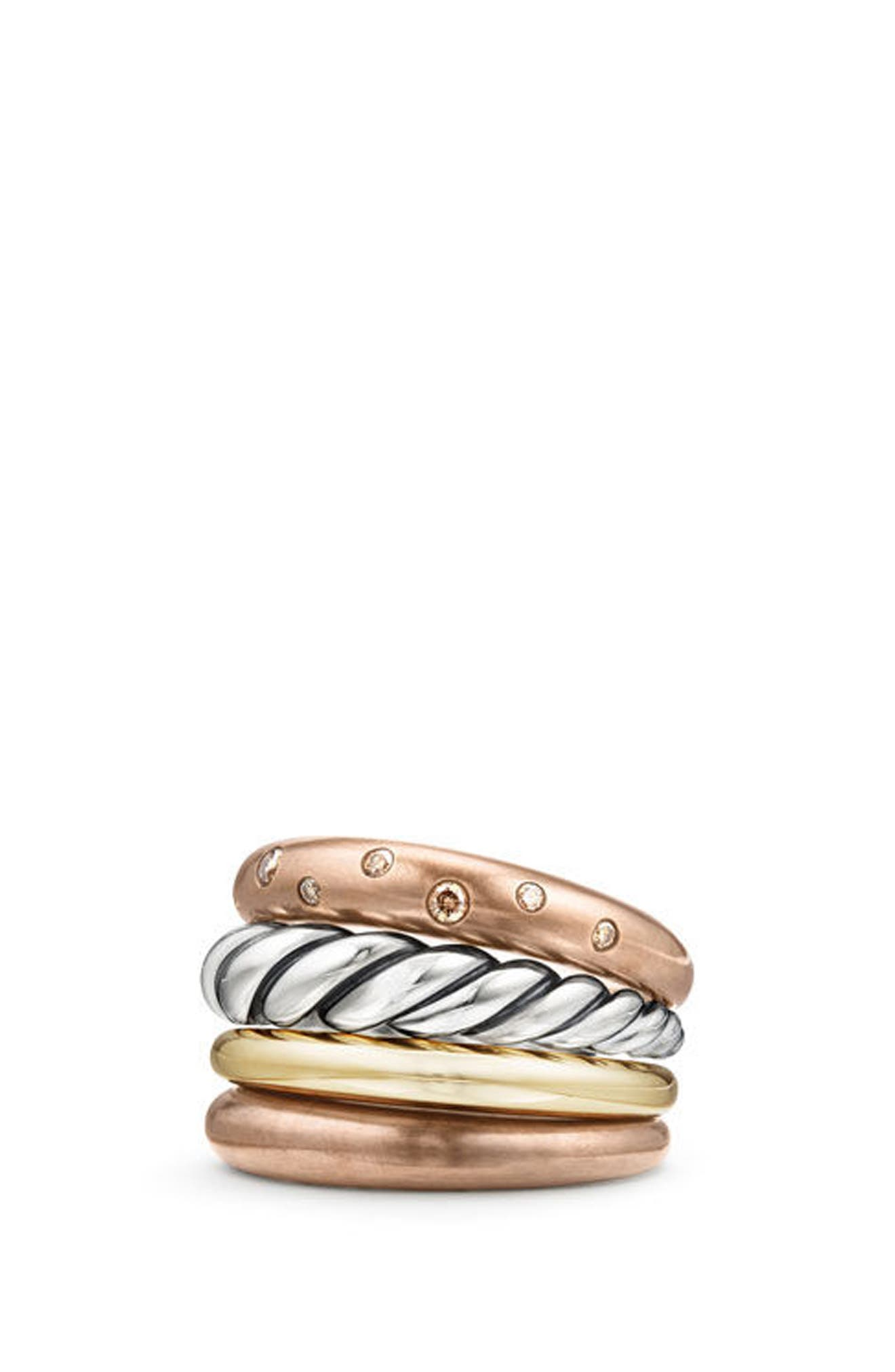 Alternate Image 1 Selected - David Yurman Pure Form Mixed Metal Four-Row Ring with Diamonds, Bronze & Silver, 17.5mm