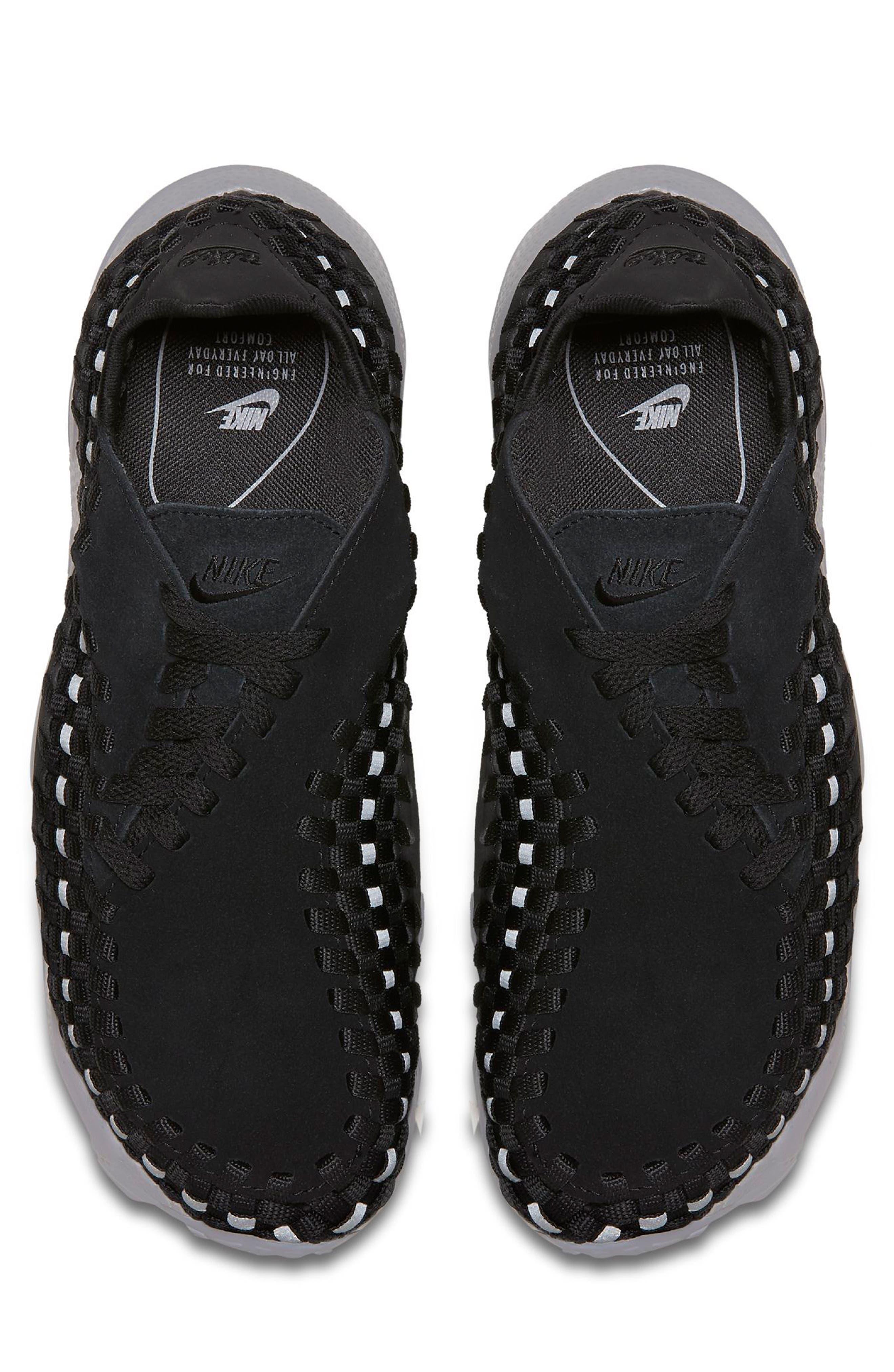 Air Footscape Woven Sneaker,                             Alternate thumbnail 4, color,                             Black/ Black/ Silver/ Grey