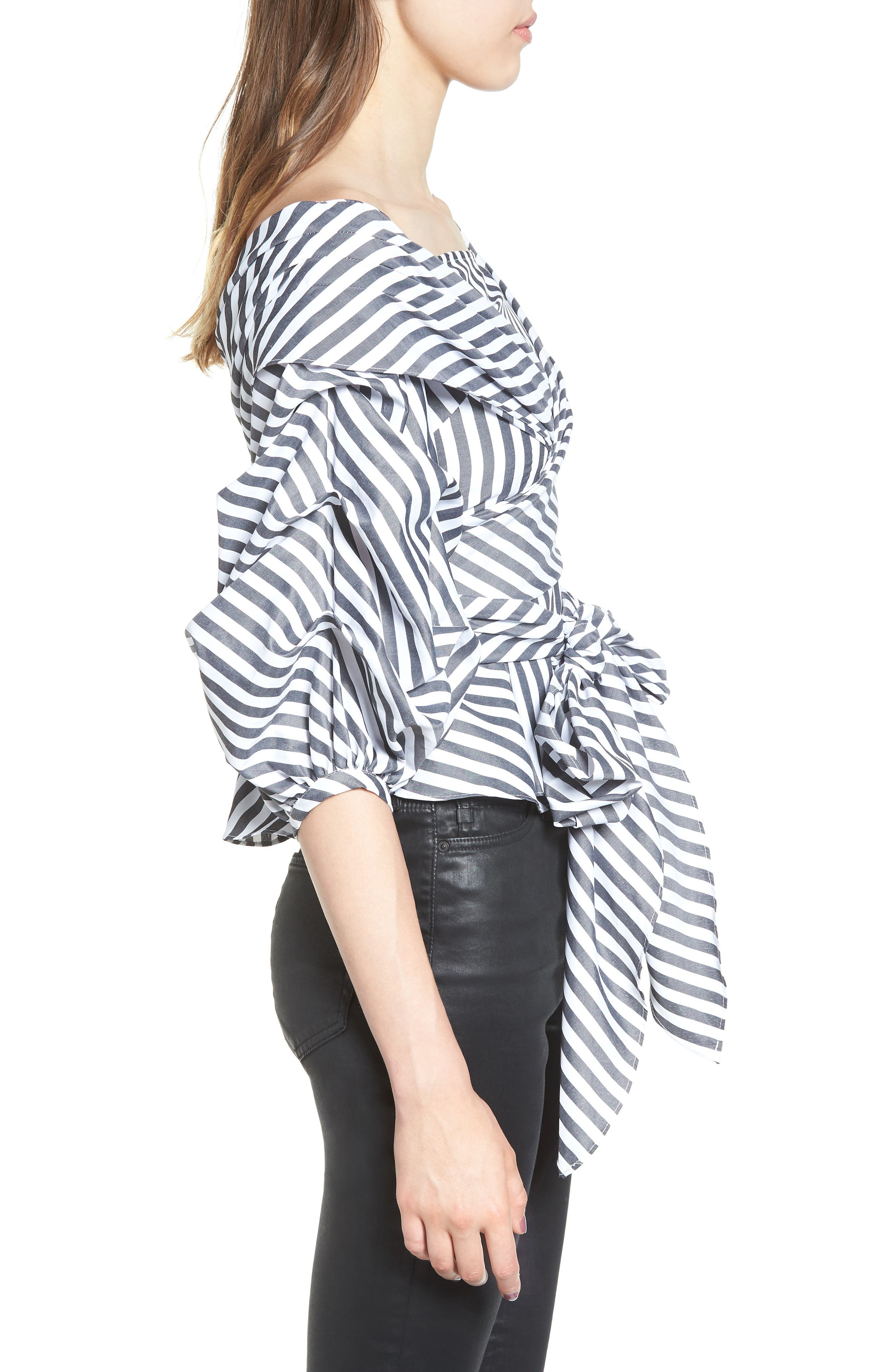 The Lovers Lane Top,                             Alternate thumbnail 3, color,                             Striped Charcoal