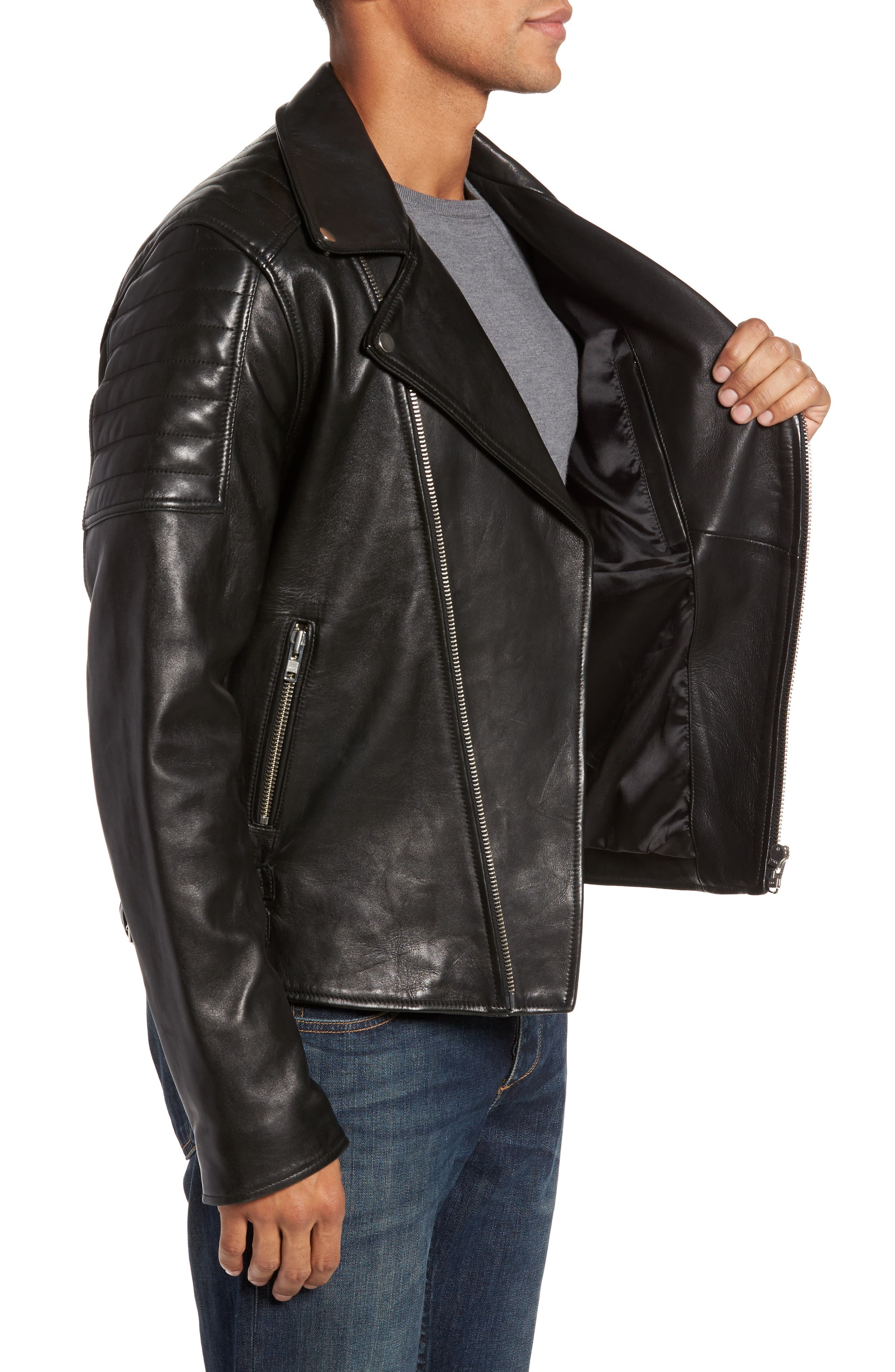 Alternate Image 3  - LAMARQUE Leather Biker Jacket