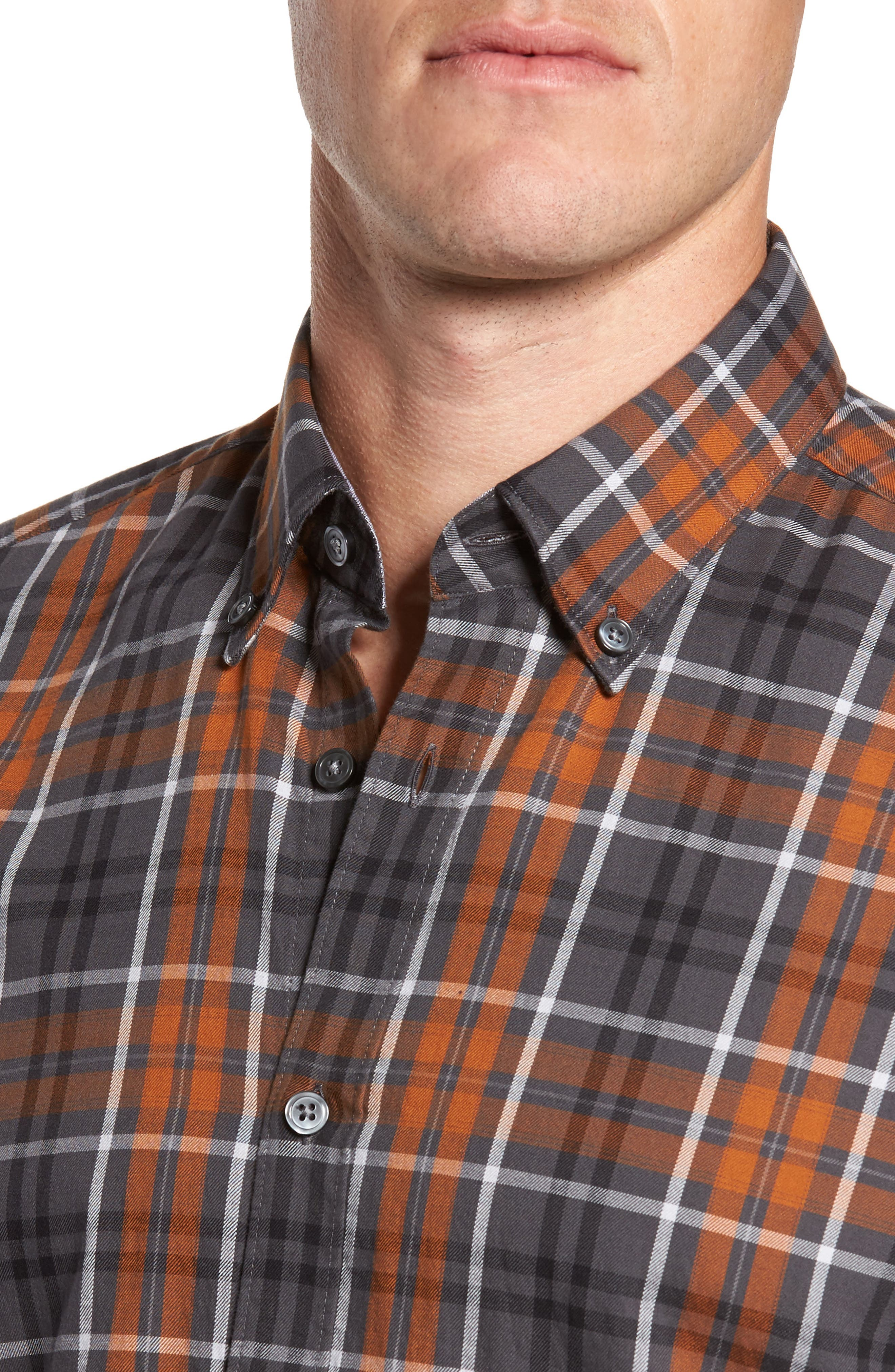 Check Sport Shirt,                             Alternate thumbnail 4, color,                             Brown