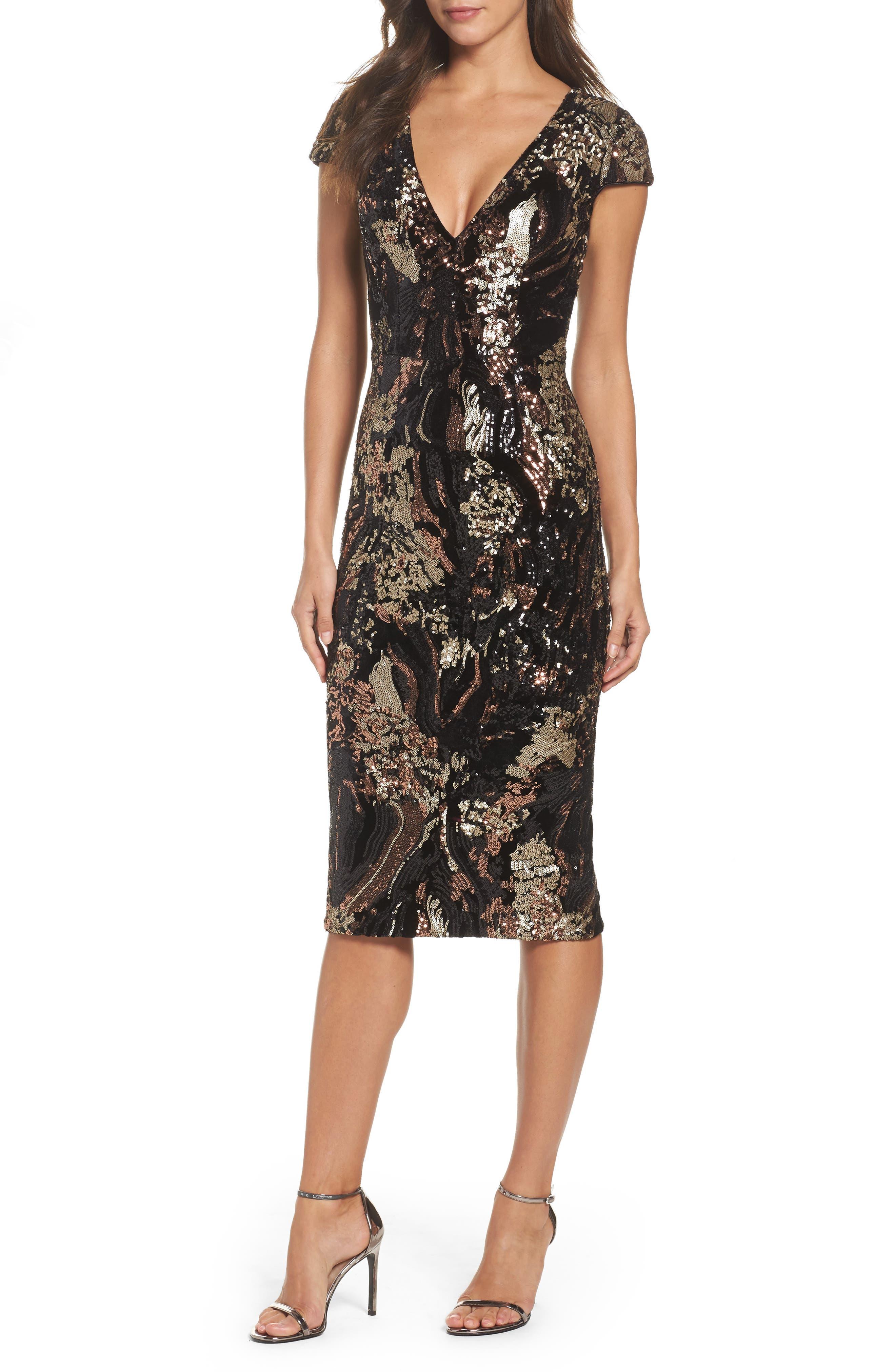 Allison Sequin Velvet Body-Con Dress,                         Main,                         color, Black/ Bronze