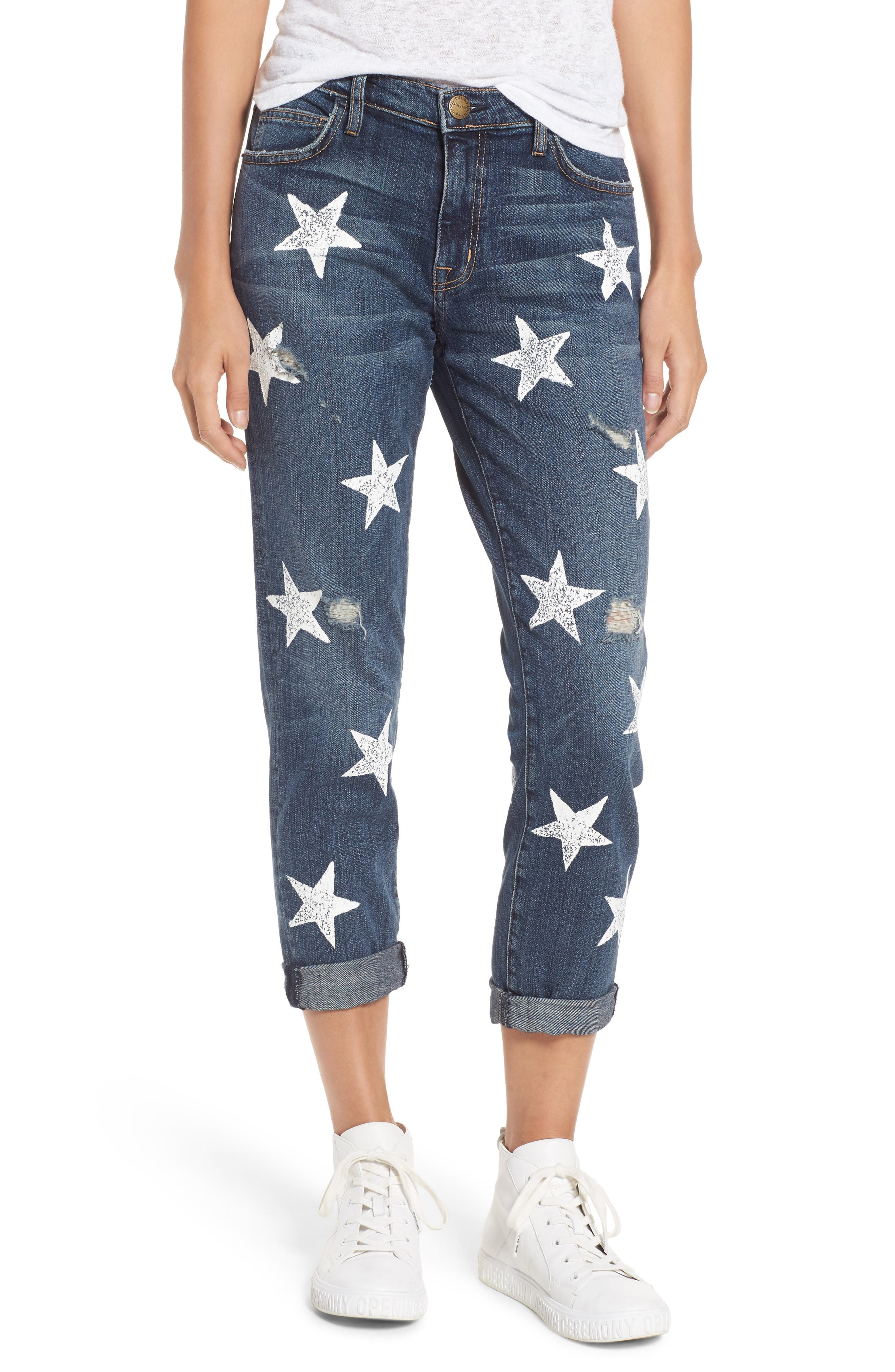 Alternate Image 1 Selected - Current/Elliott The Fling High Waist Boyfriend Jeans (Loved Destroy with White Stars)